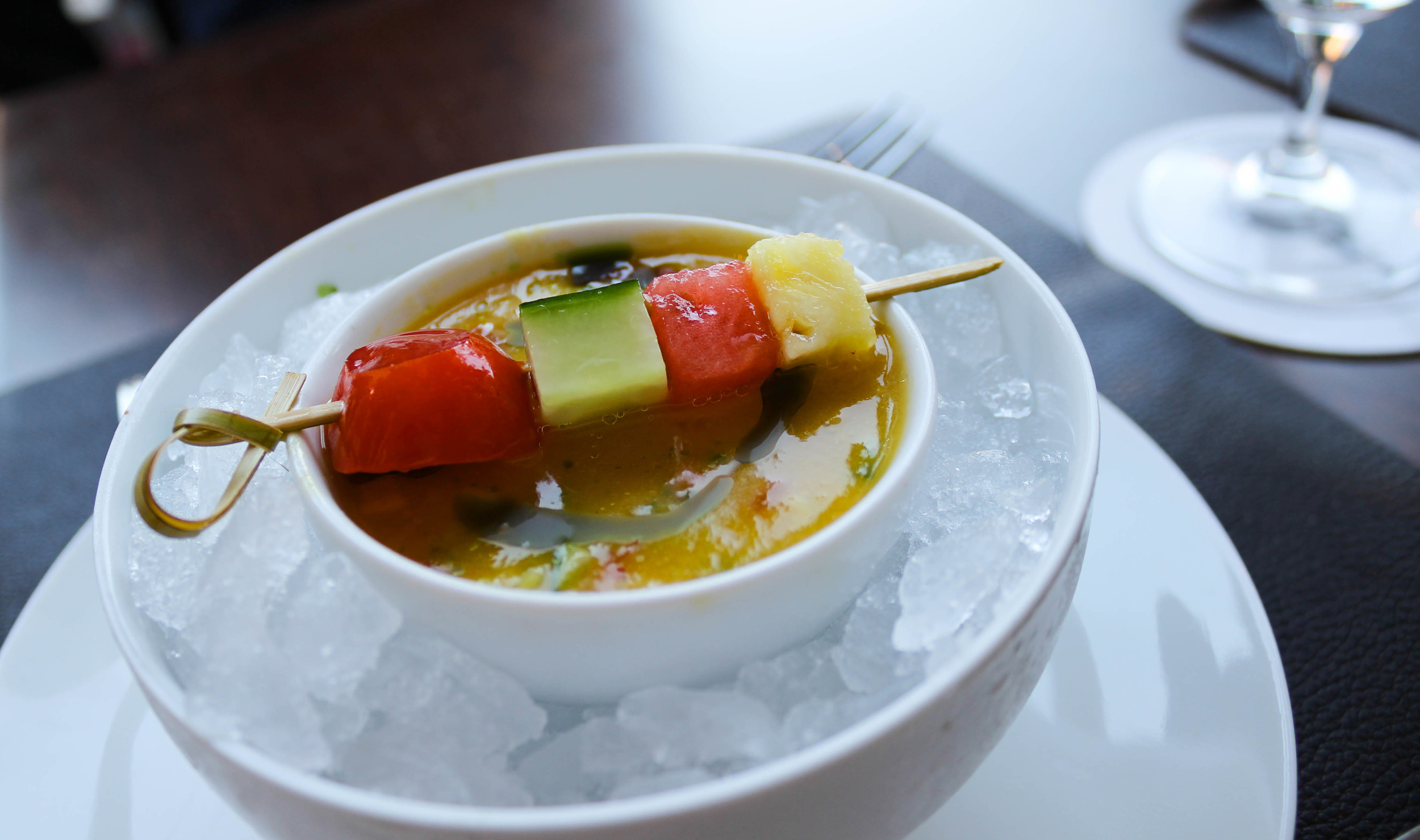 Chilled Yellow Tomato Gazpacho - watermelon, cucumber