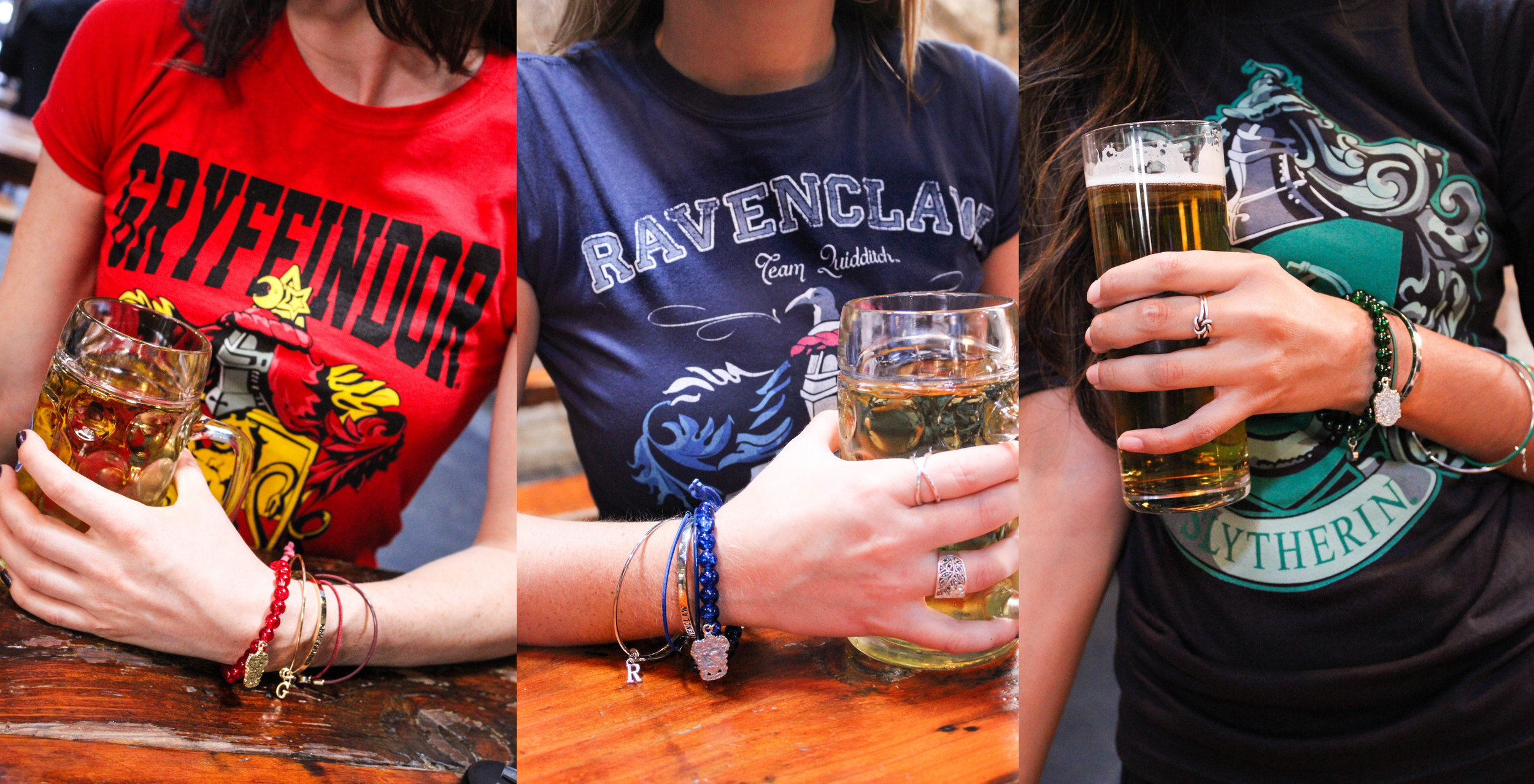 Our outfits from left to right:  Gryffindor red t-shirt  and  charm bracelet ,  Ravenclaw blue t-shirt  and  charm bracelet , and  Slytherin black t-shirt  and  charm bracelet.