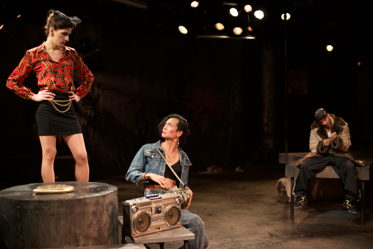 Eve Lindley (Jaime), JP Moraga (Angela) and Victor Almanzar (Terrence),  Photo credit: Ted Alcorn