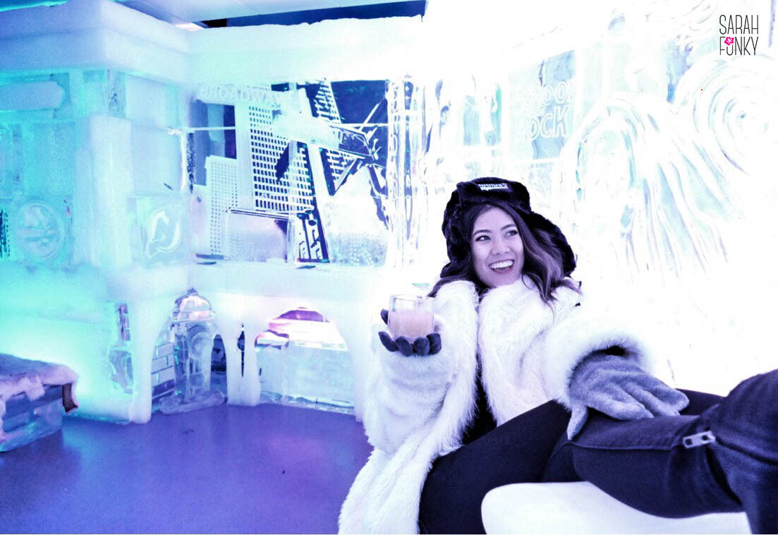Christine at Minus  5, sitting on a throne carved from ice