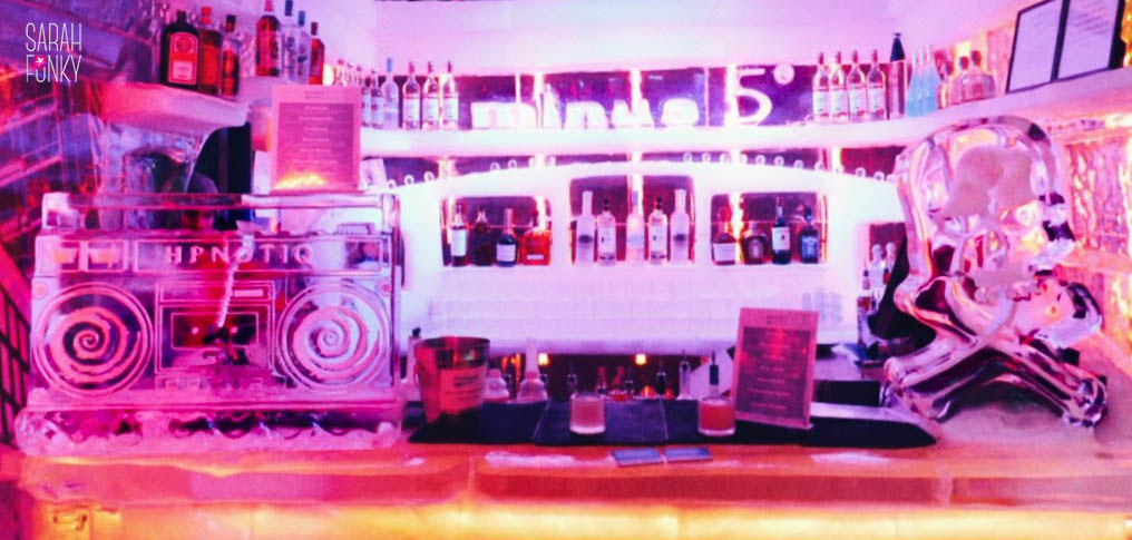 The bar, crafted entirely out of ice, has a boombox-shaped ice luge for the more adventurous partygoer