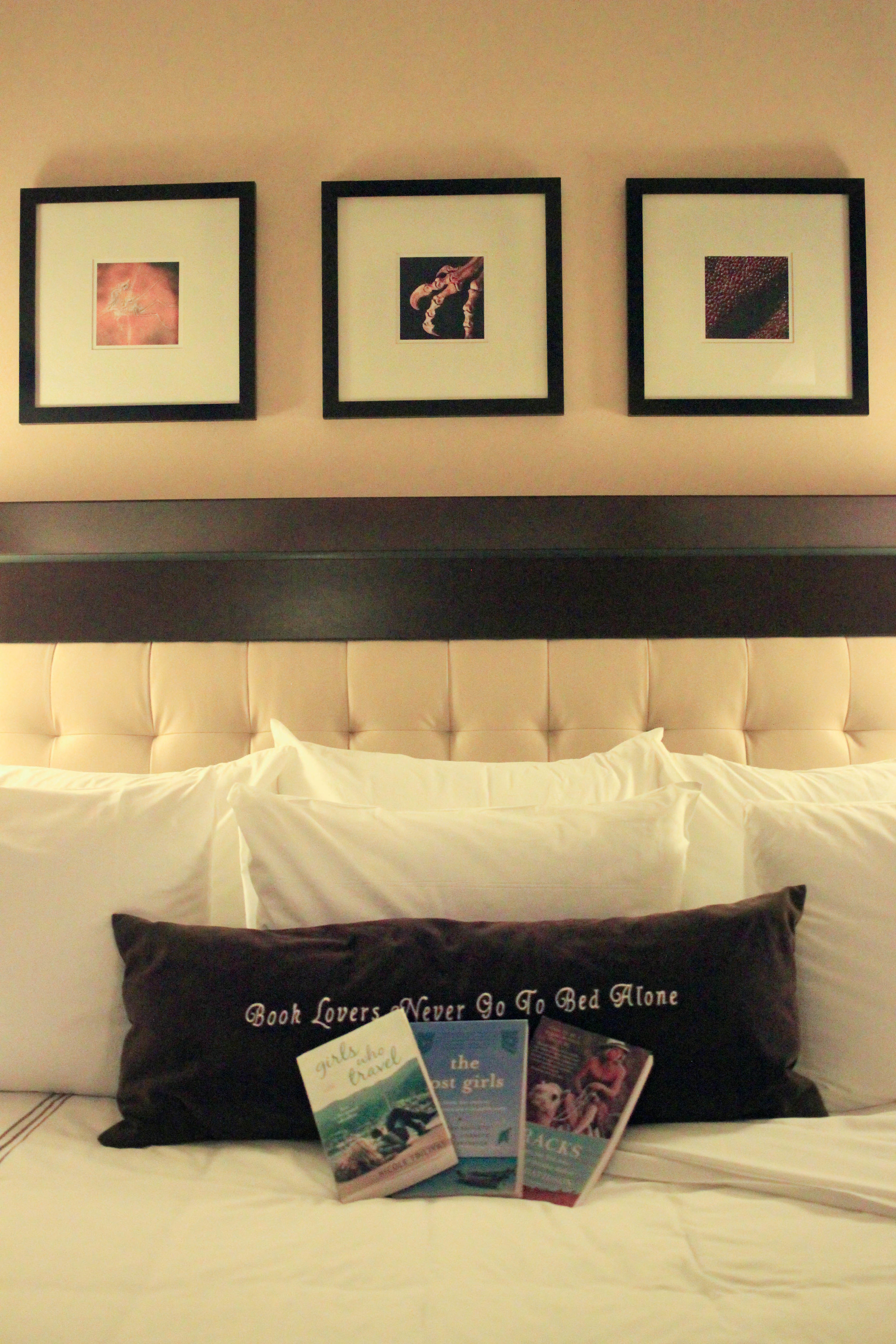 """The pillow reads """"Book lovers never go to bed alone."""" Above are framed photos of fossils line the wall."""