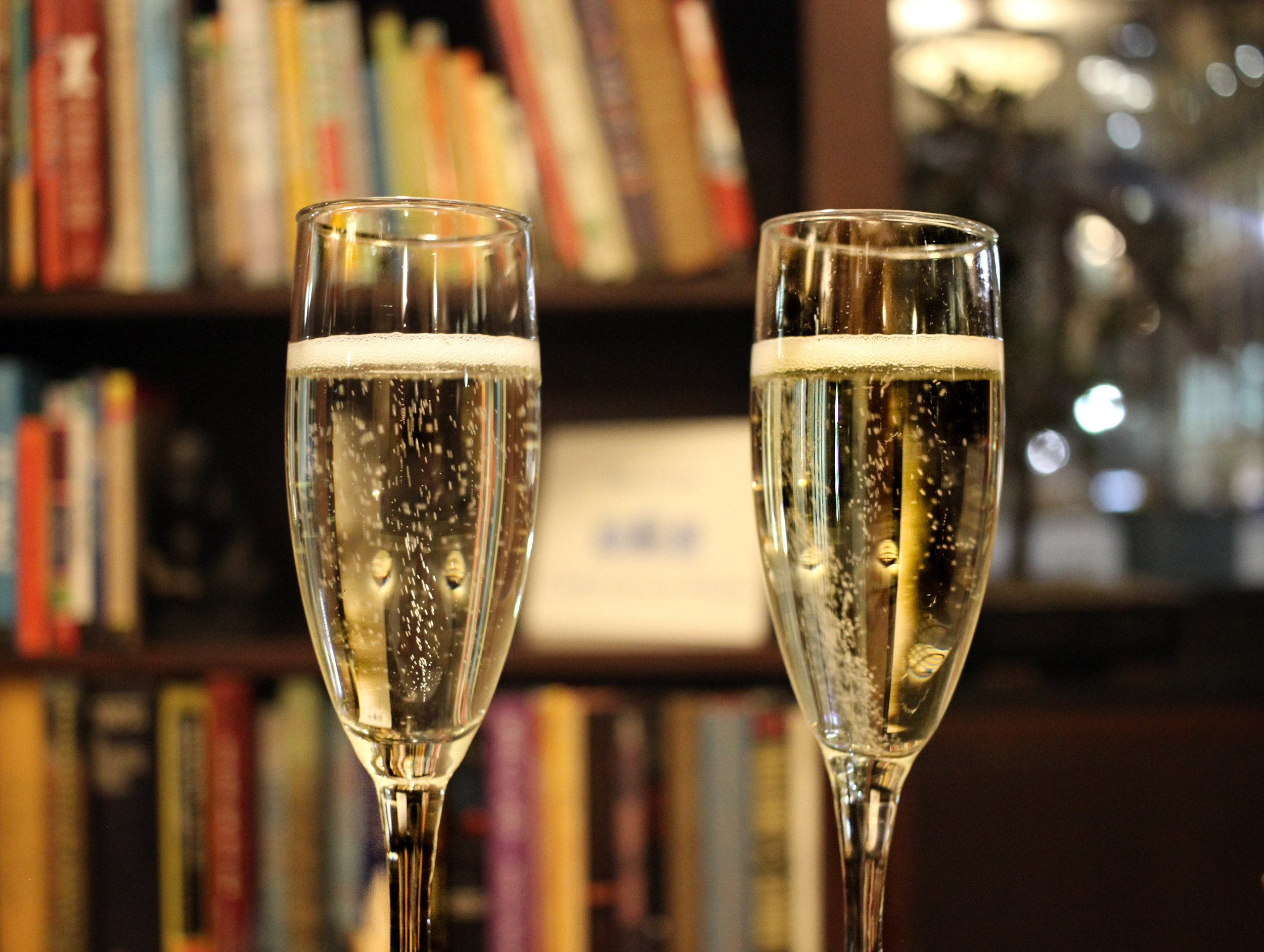 Enjoying Prosecco in the reading room