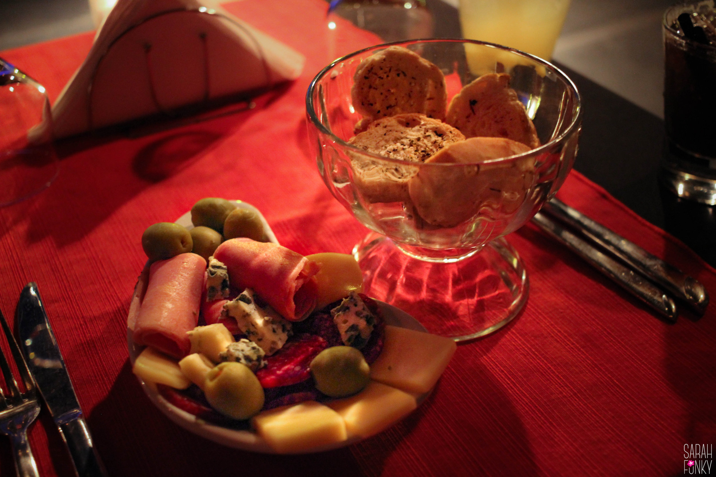 The first course, Argentiean meats, cheeses and olives.