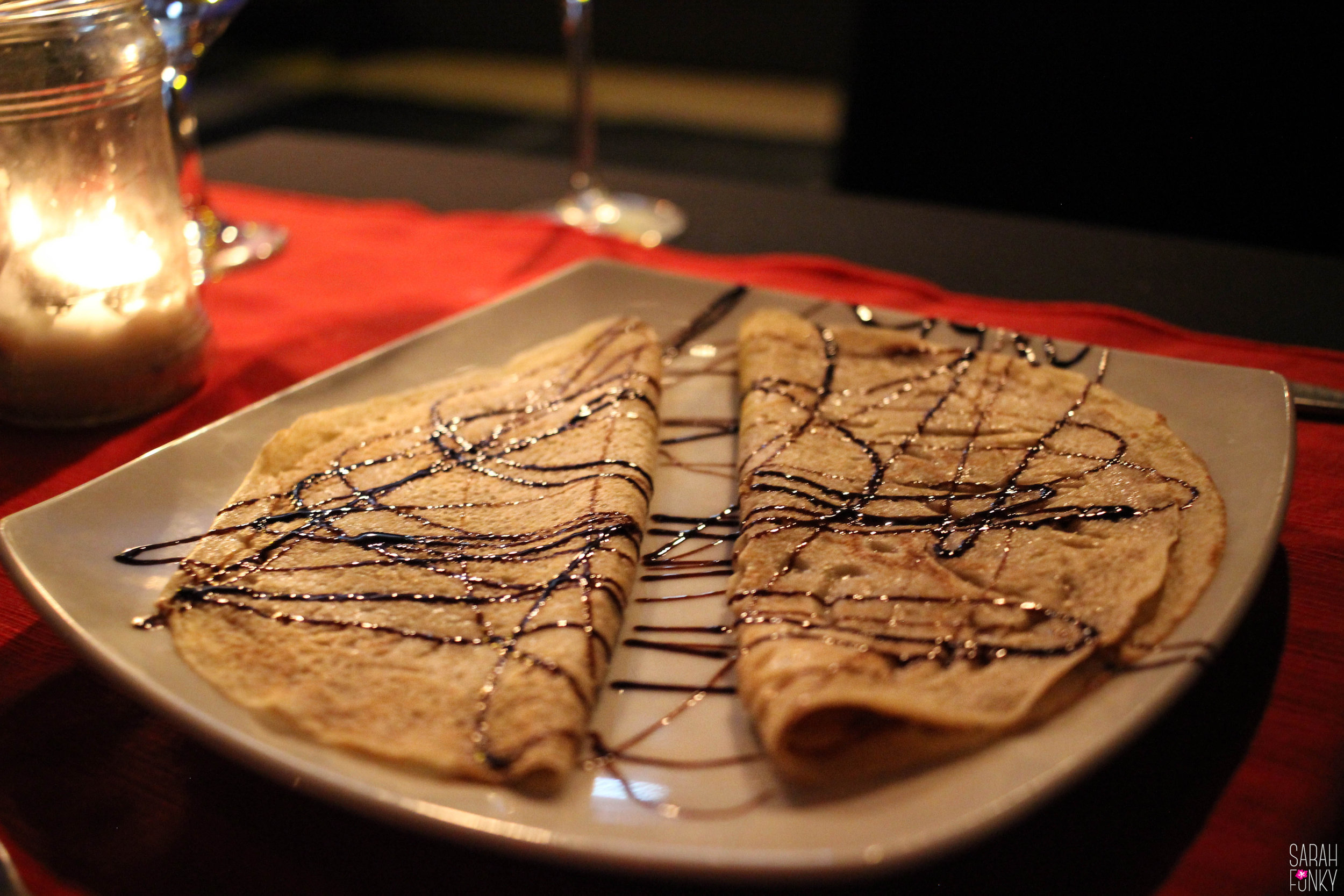 Dessert is served, a sweet chocolate crepe.