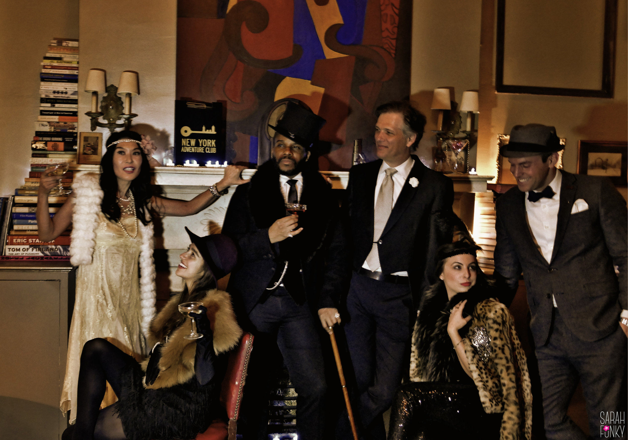 Mimi, Alyssa, Eric, Elon, Heather and John pose for a mid-   soirée photoshoot.