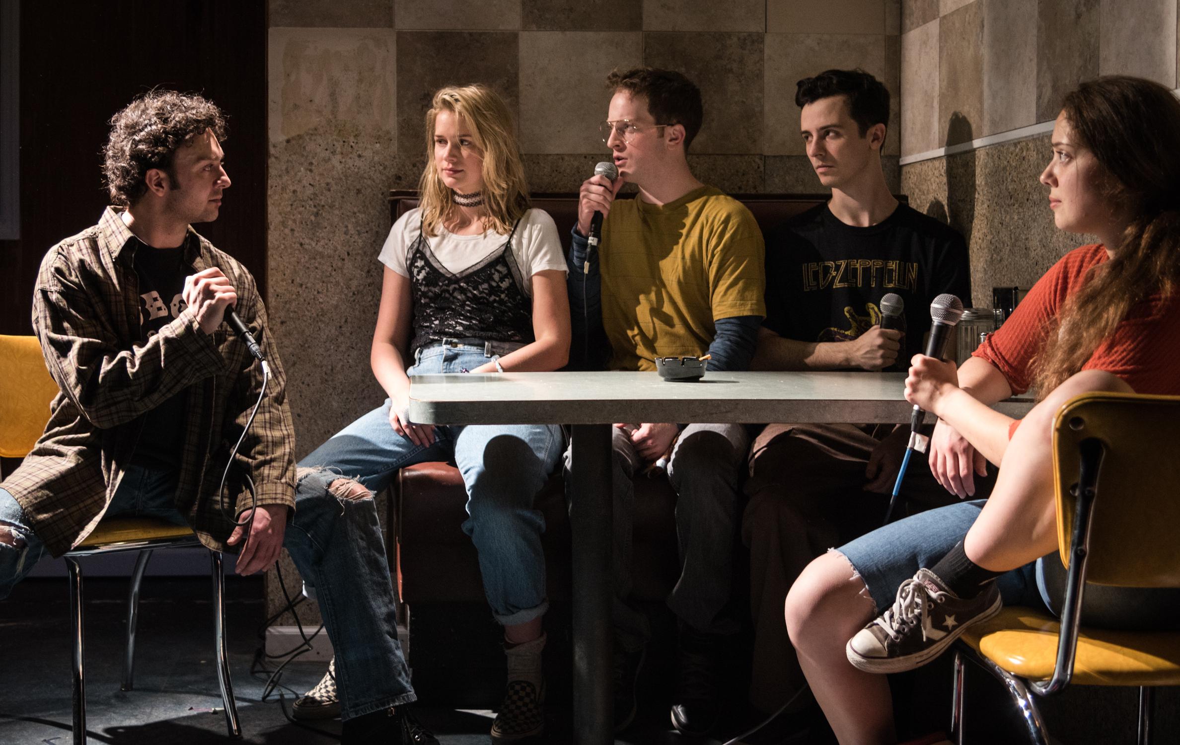 James Kautz as Adam, Elizabeth Lail as Hayley, Spencer Davis Milford as Matt, Sean Patrick Monahan as Pete, Rachel Franco as Tara.Photo credit: Russ Rowland.