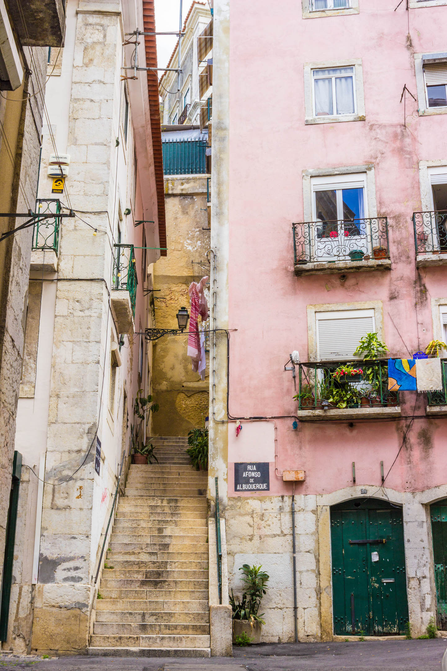 The colorful streets of Lisbon's medieval area
