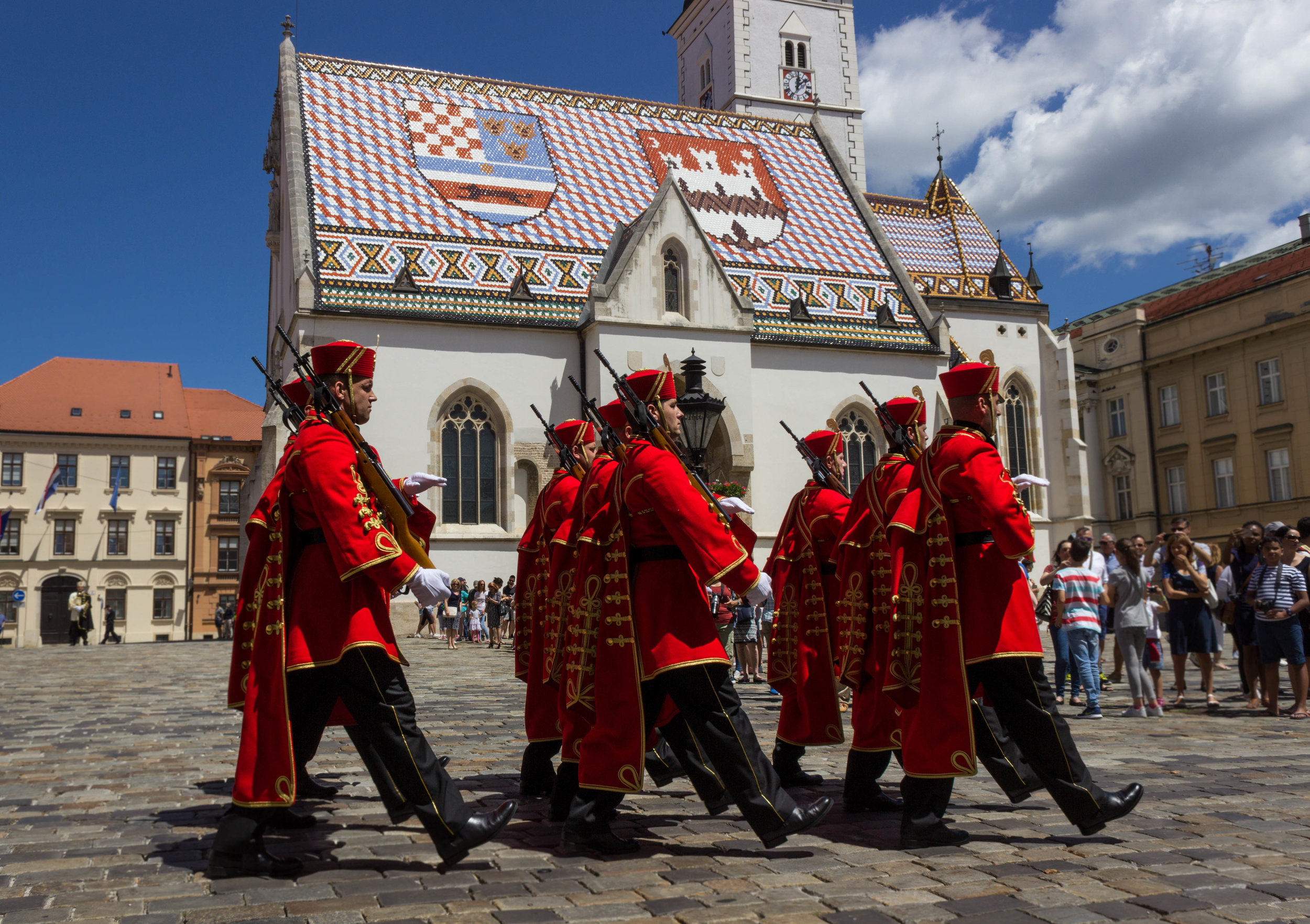 The changing of the guards on Saturday and Sundays at noon at St. Marks Church