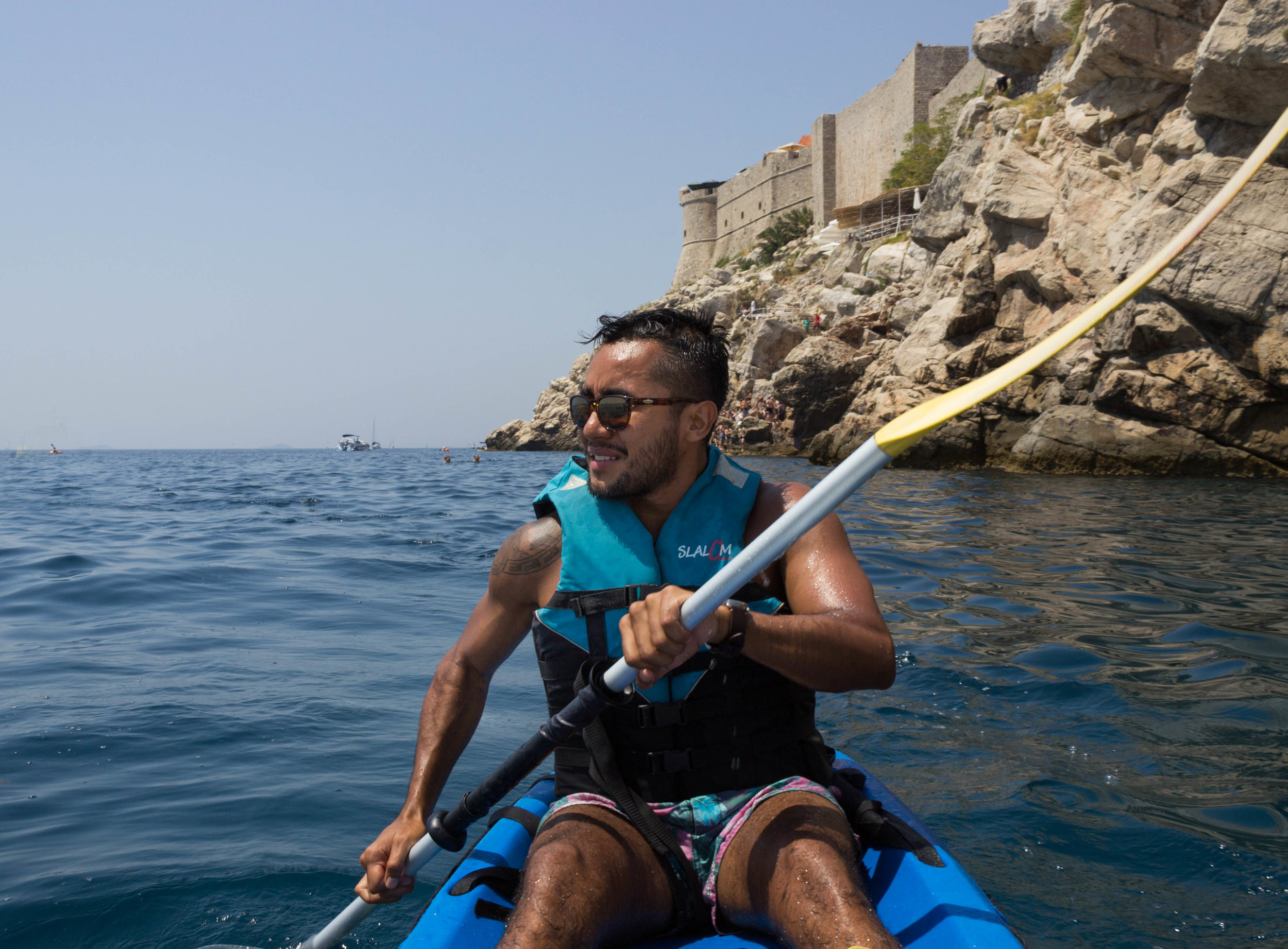 Luis kayaking outside the walls of Dubrovnik