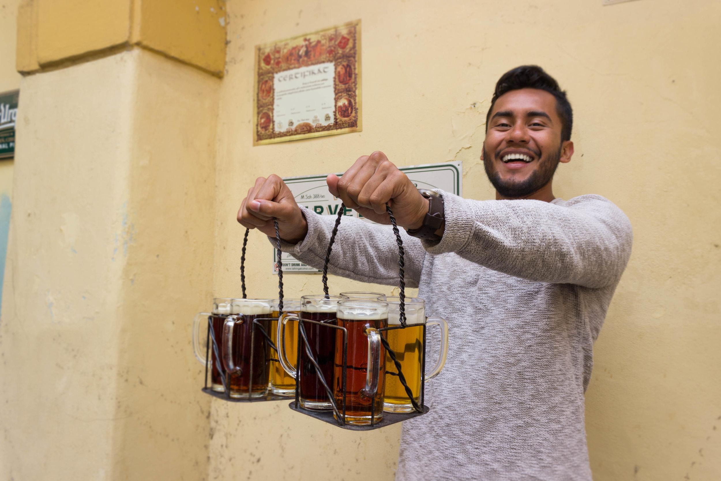Luis having a great time during the beer tasting at Prague Beer Museum