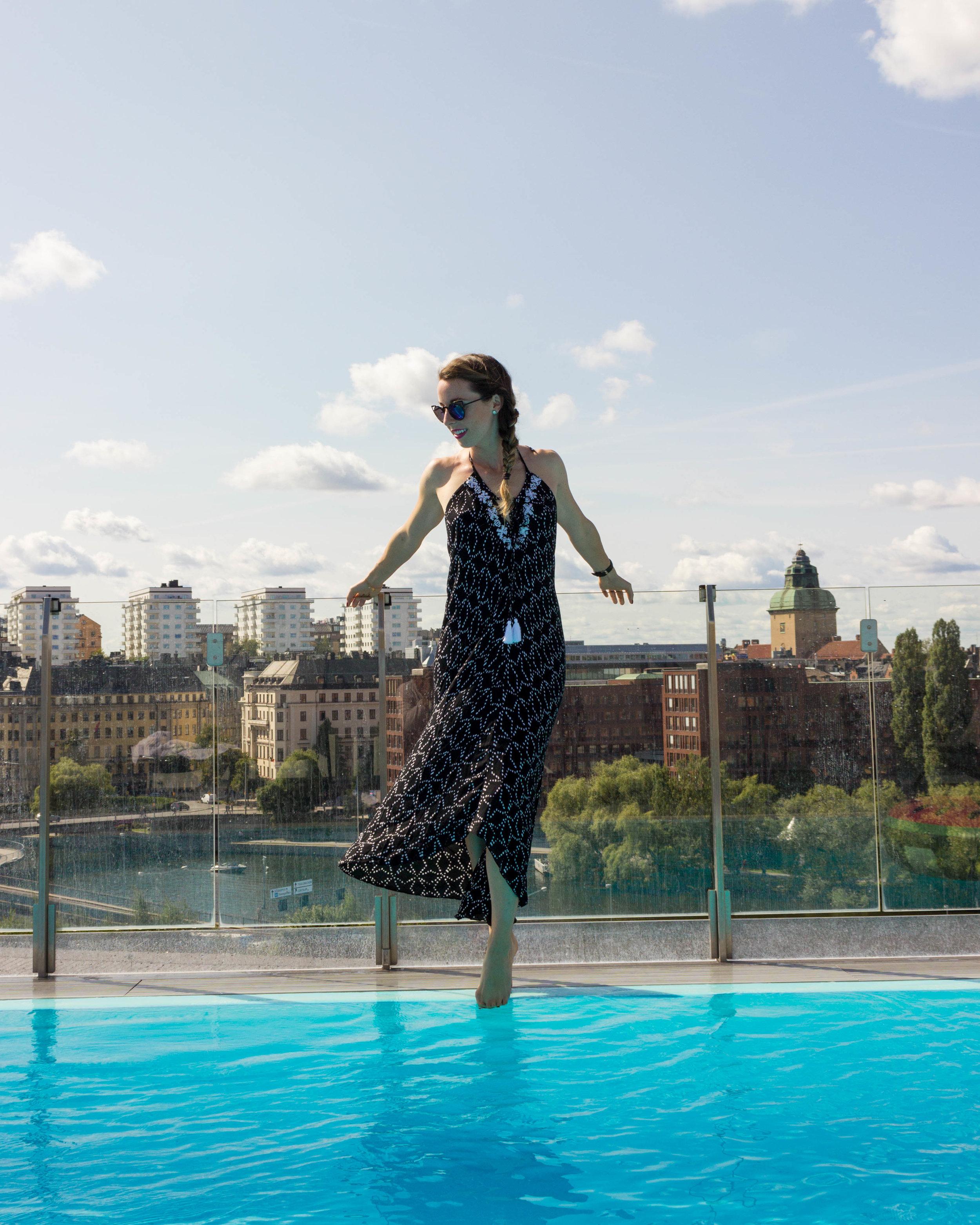 Enjoying the beautiful pool at Selma City Spa in my  Amita Naithani  Embroidered Moroccan Tile Print Halter Dress