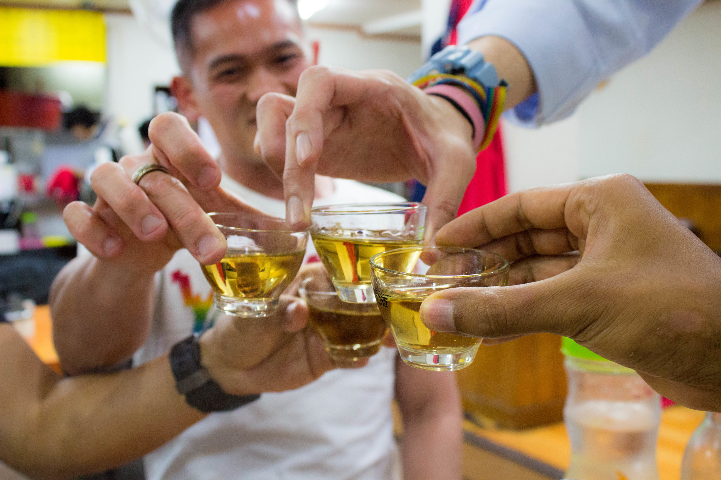 A cheers with Korean sweet wine