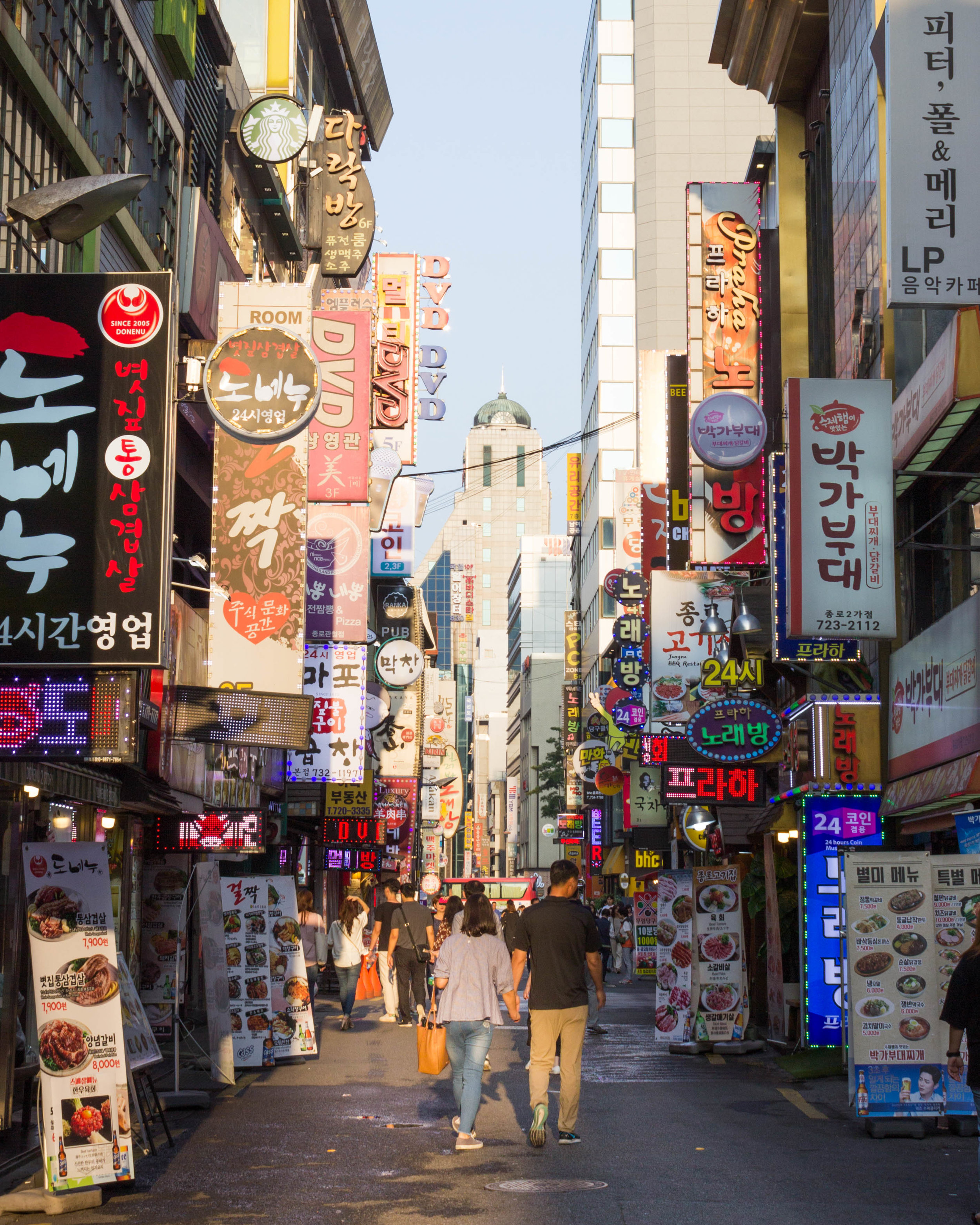 A busy street in the Jongno district
