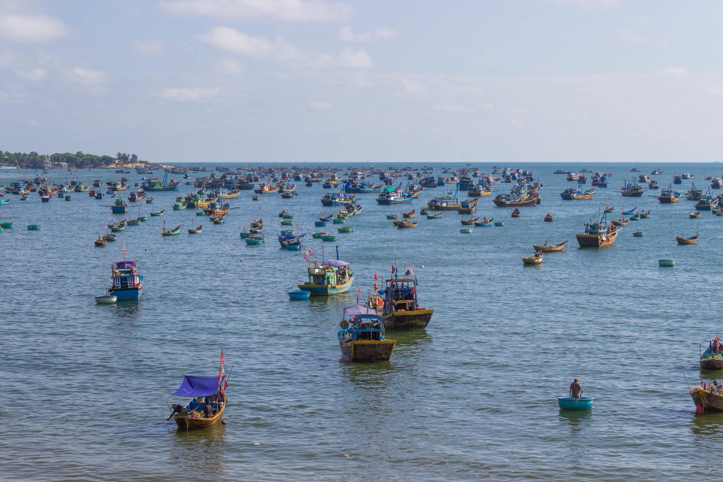Fisherman boats in the harbor of Mui Ne