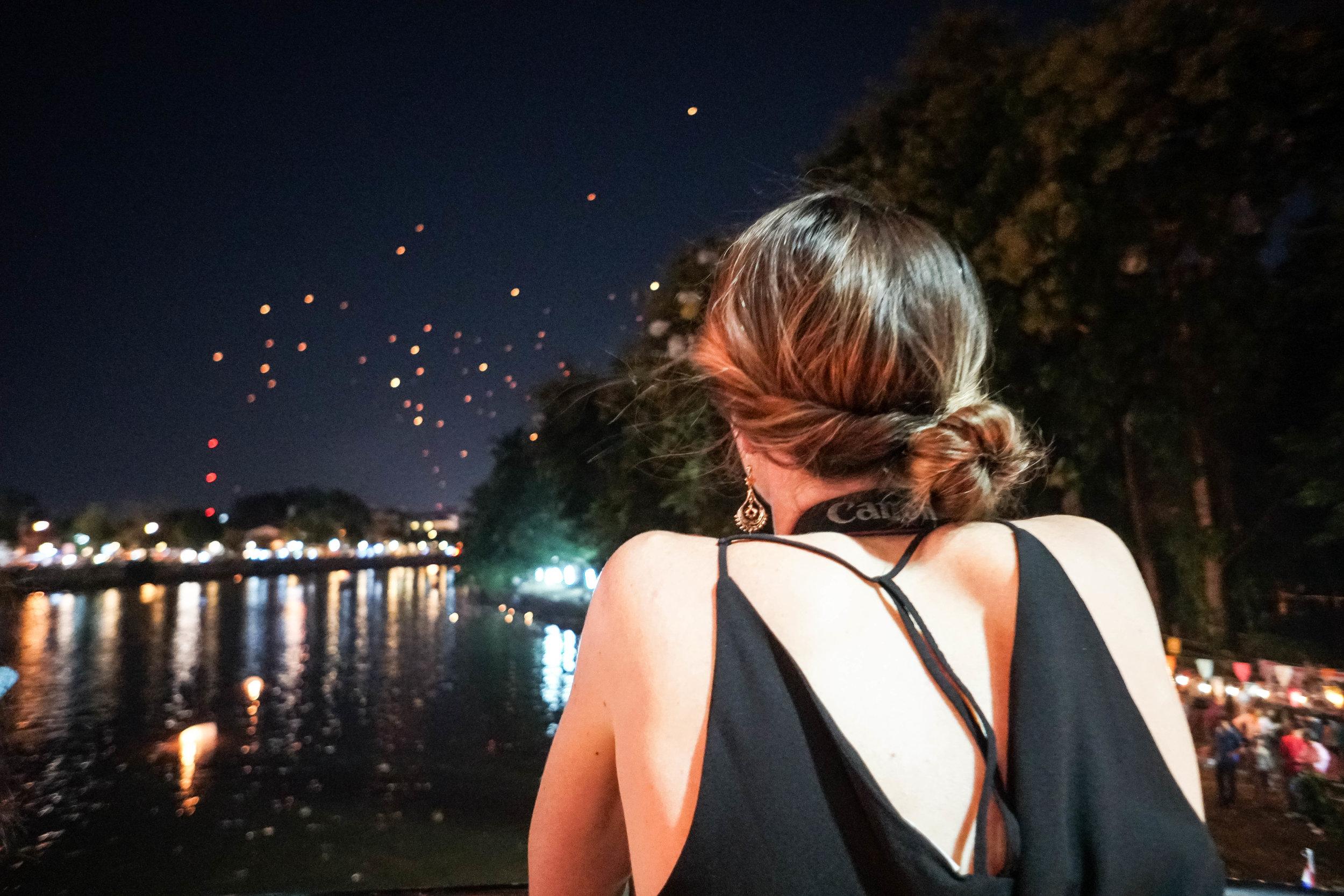 Enjoying the Lantern Festival, which happens every November.