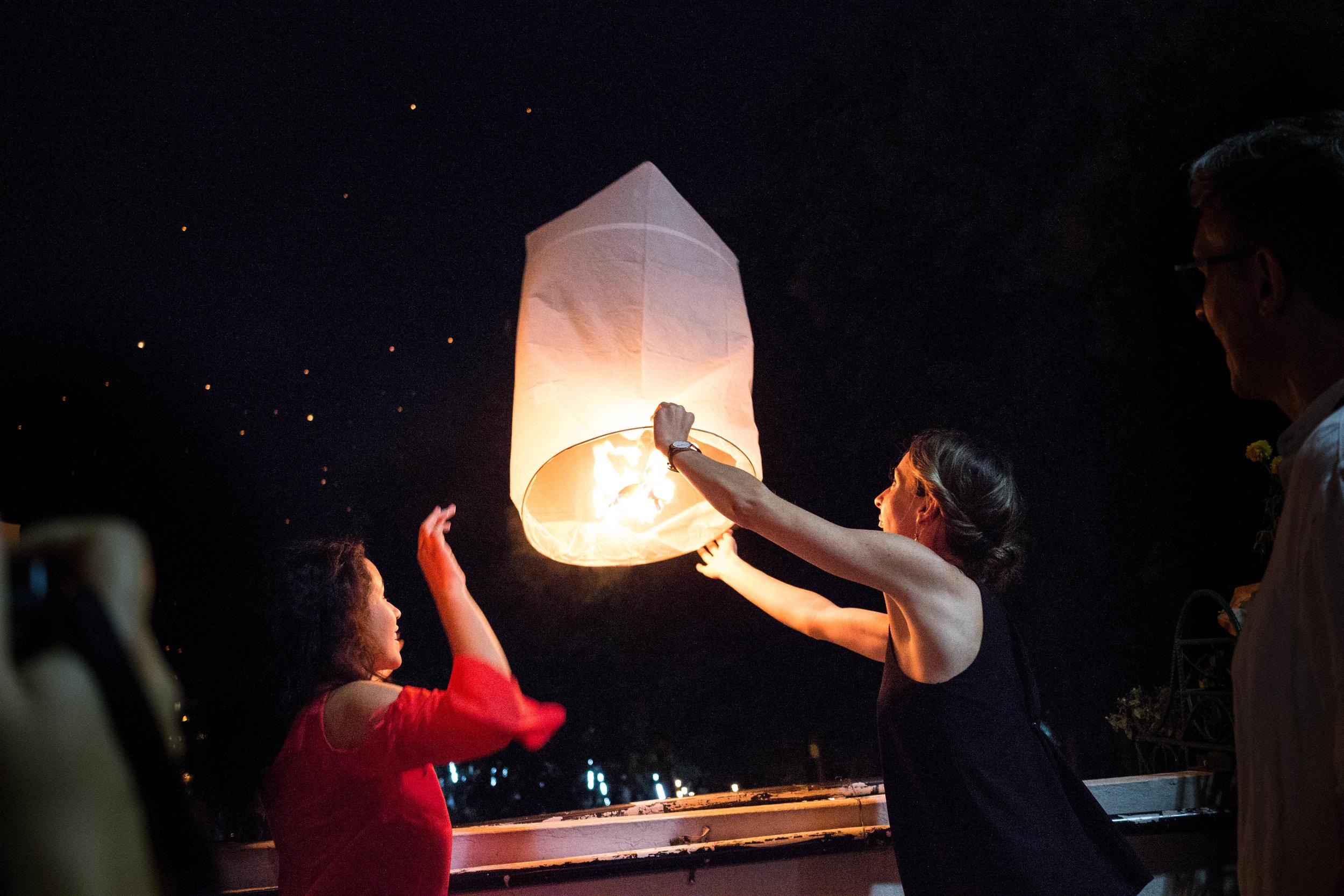 Releasing a lantern with my friend Jen from  The Travel Women