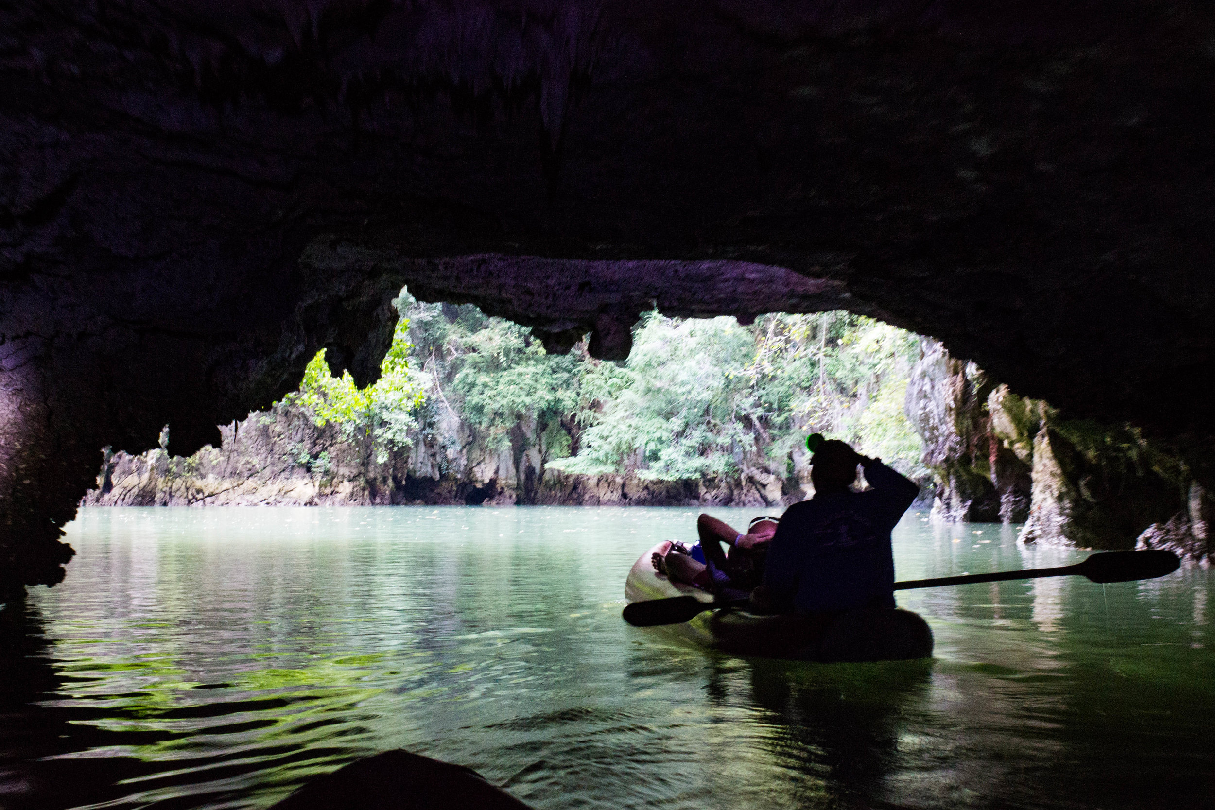Exiting a cave on Panak Island