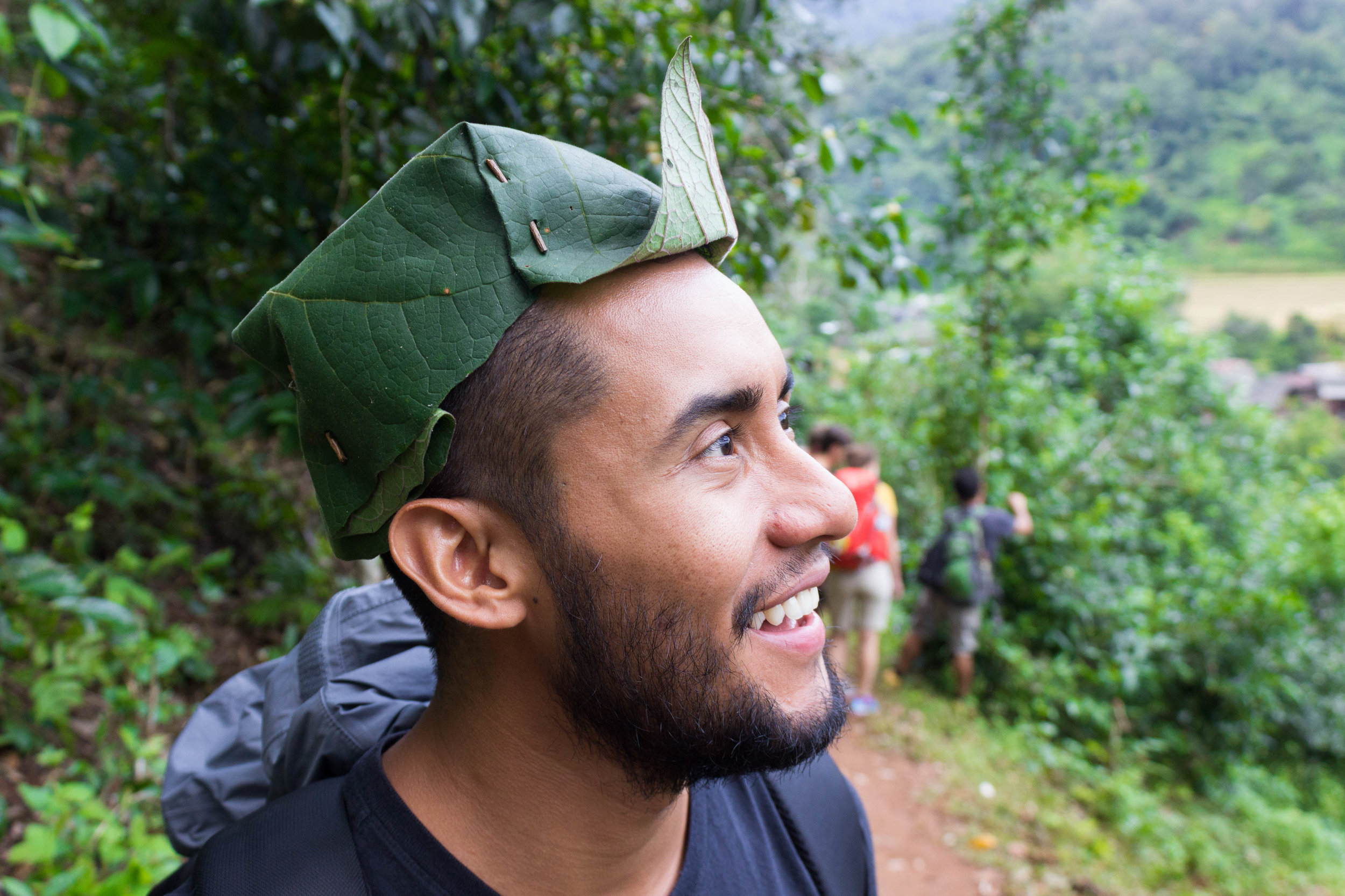 A leaf hat that Date made Luis!