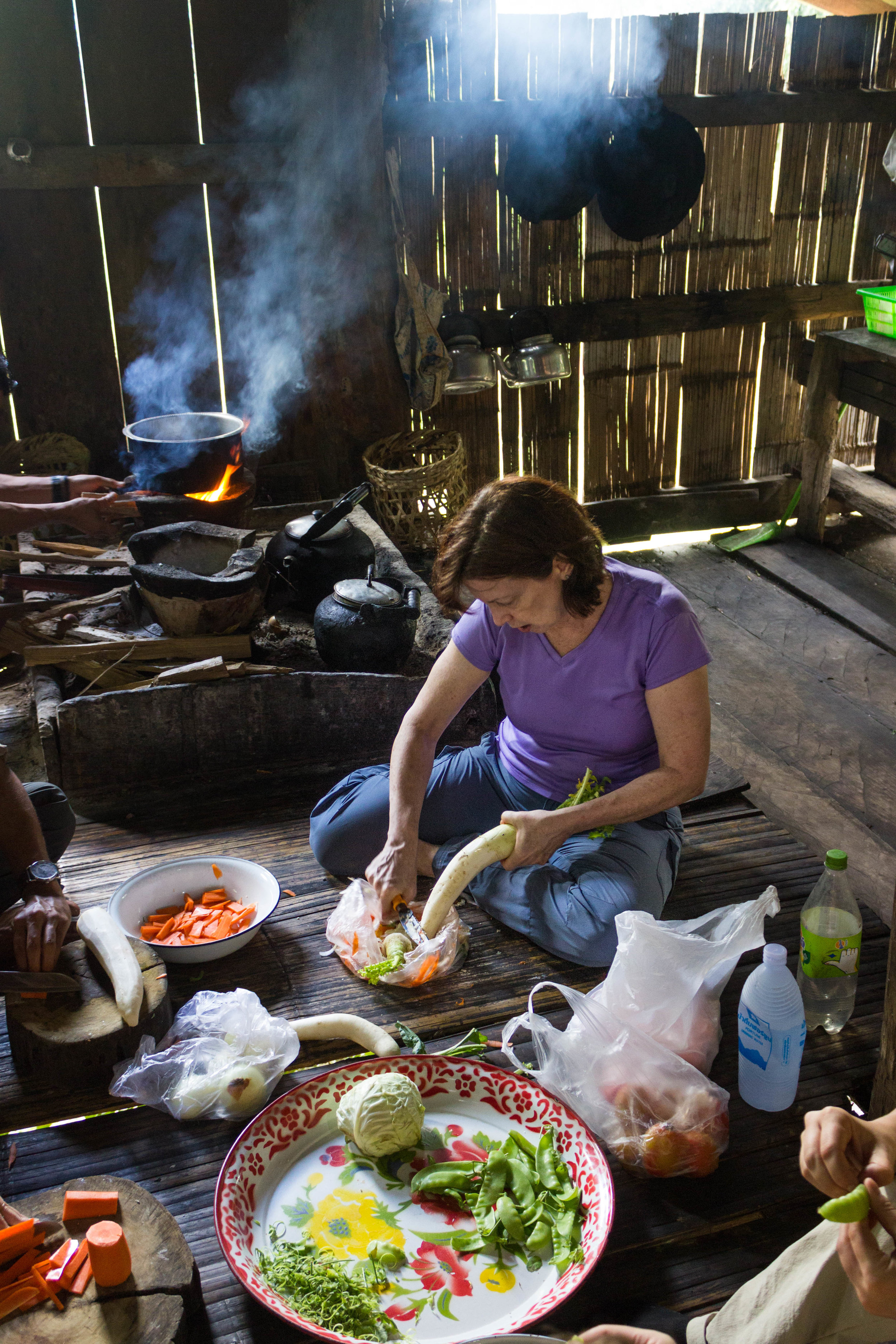 My mom works in the Kitchen to prepare lunch with the local villagers