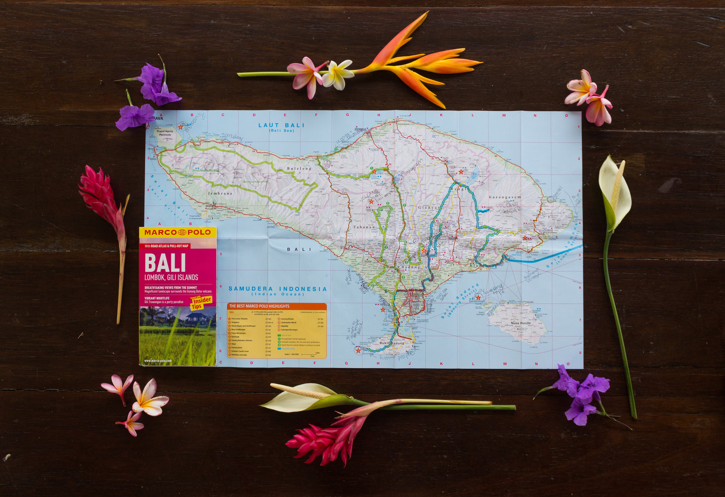 Marco Polo Bali comes with a great pull out map