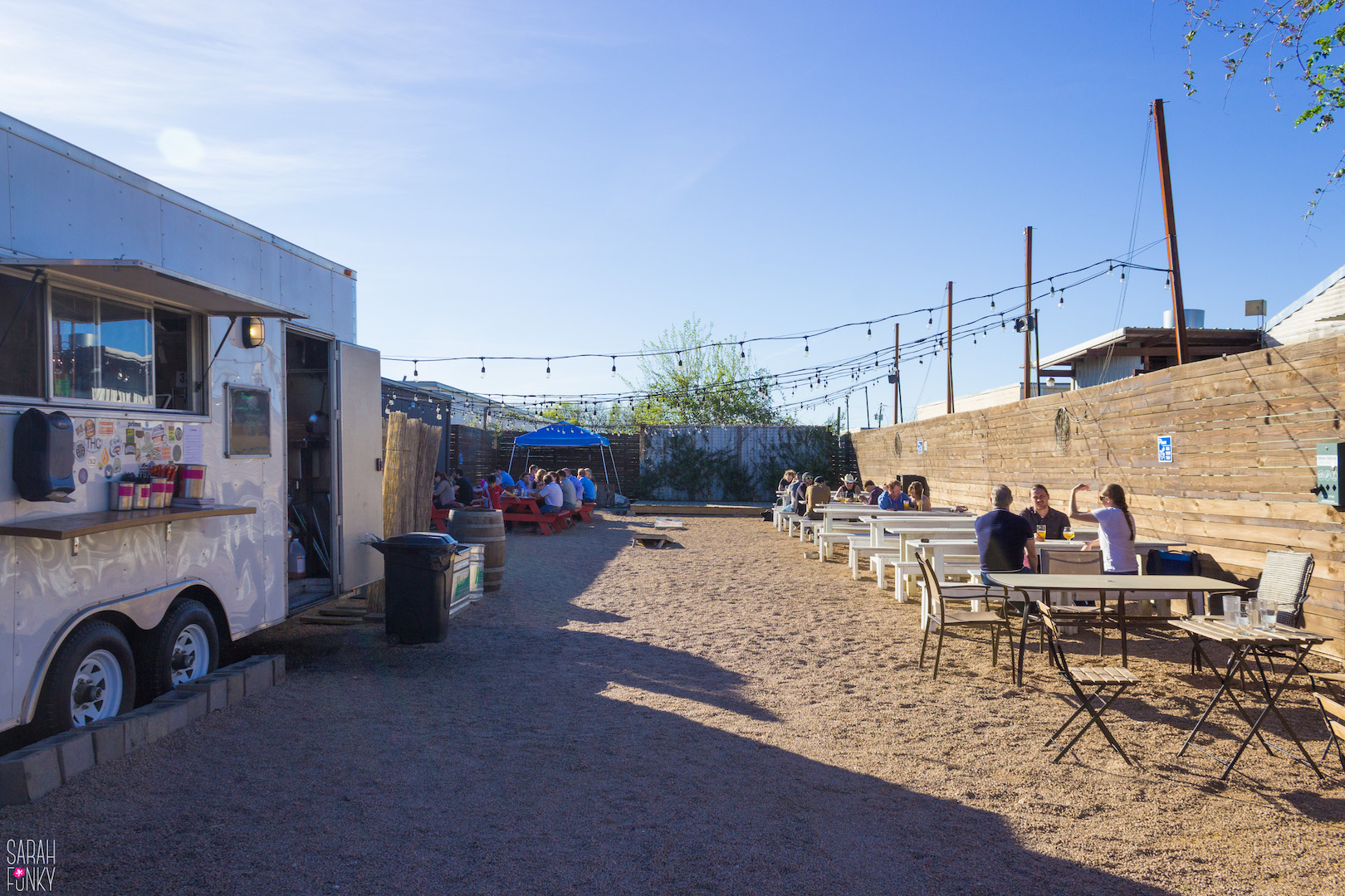 The outdoor space at St. Elmo Brewing Co. has a food truck and several outdoor games (not seen in photo)