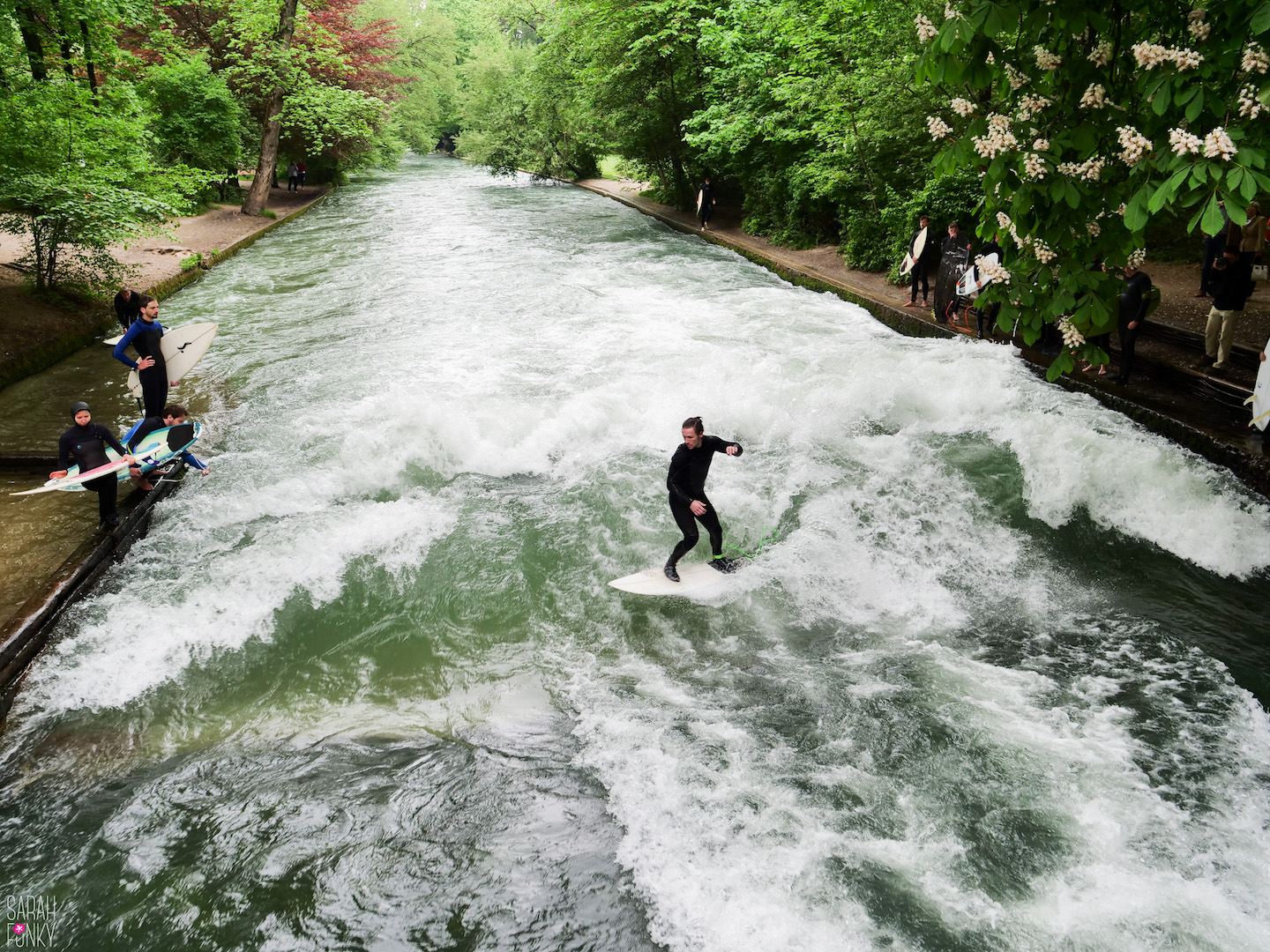 River surfing in the English Gardens