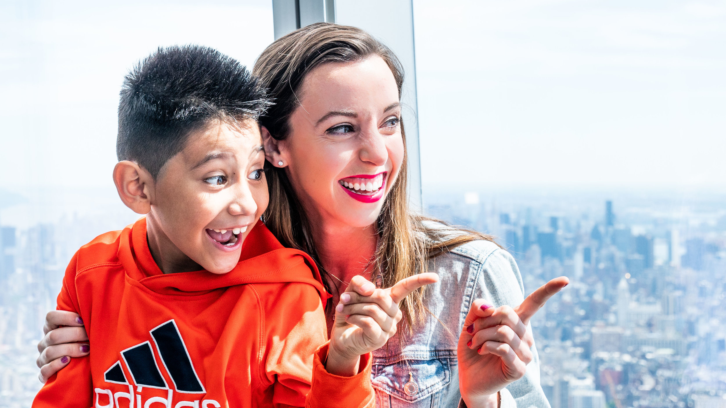 Emmanuel & Sarah enjoying the view from One World Observatory