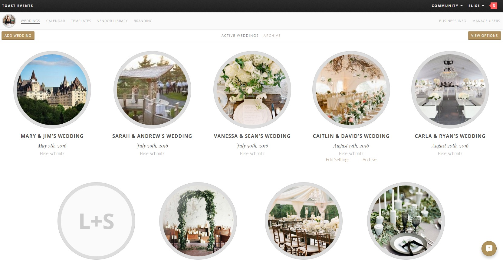 Aisle Planner with Toast Events