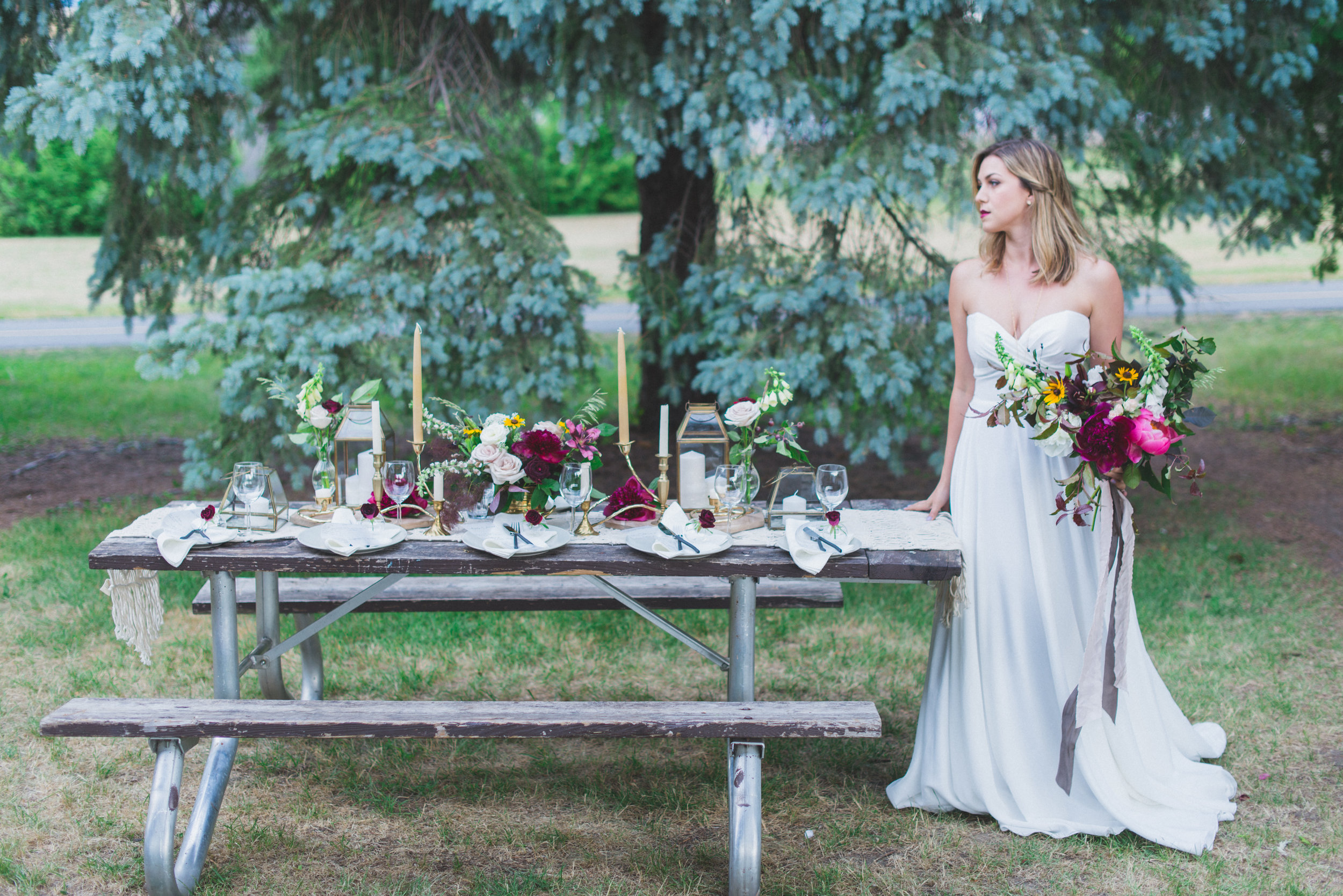 Styling: TOAST Events Photography: Laura Kelly Photography  Makeup: One Fine Beauty Dress: The Handmade Bride  Florals: Presh  Decor: Amy & Jen Decor