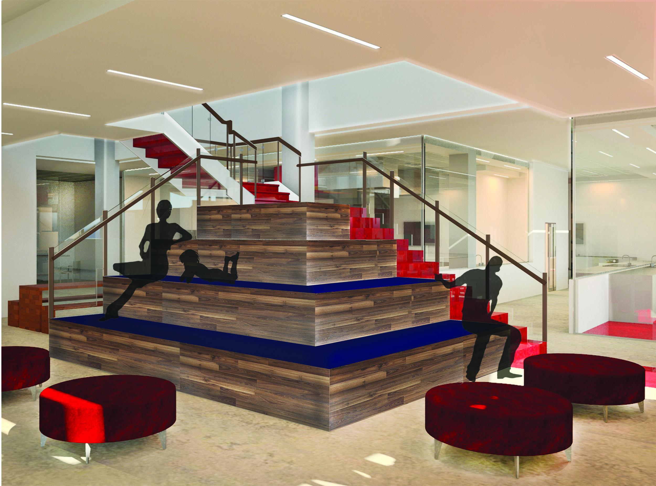 Staircase lounge leading up to the mezzanine level.©2013 Caroline Ingalls