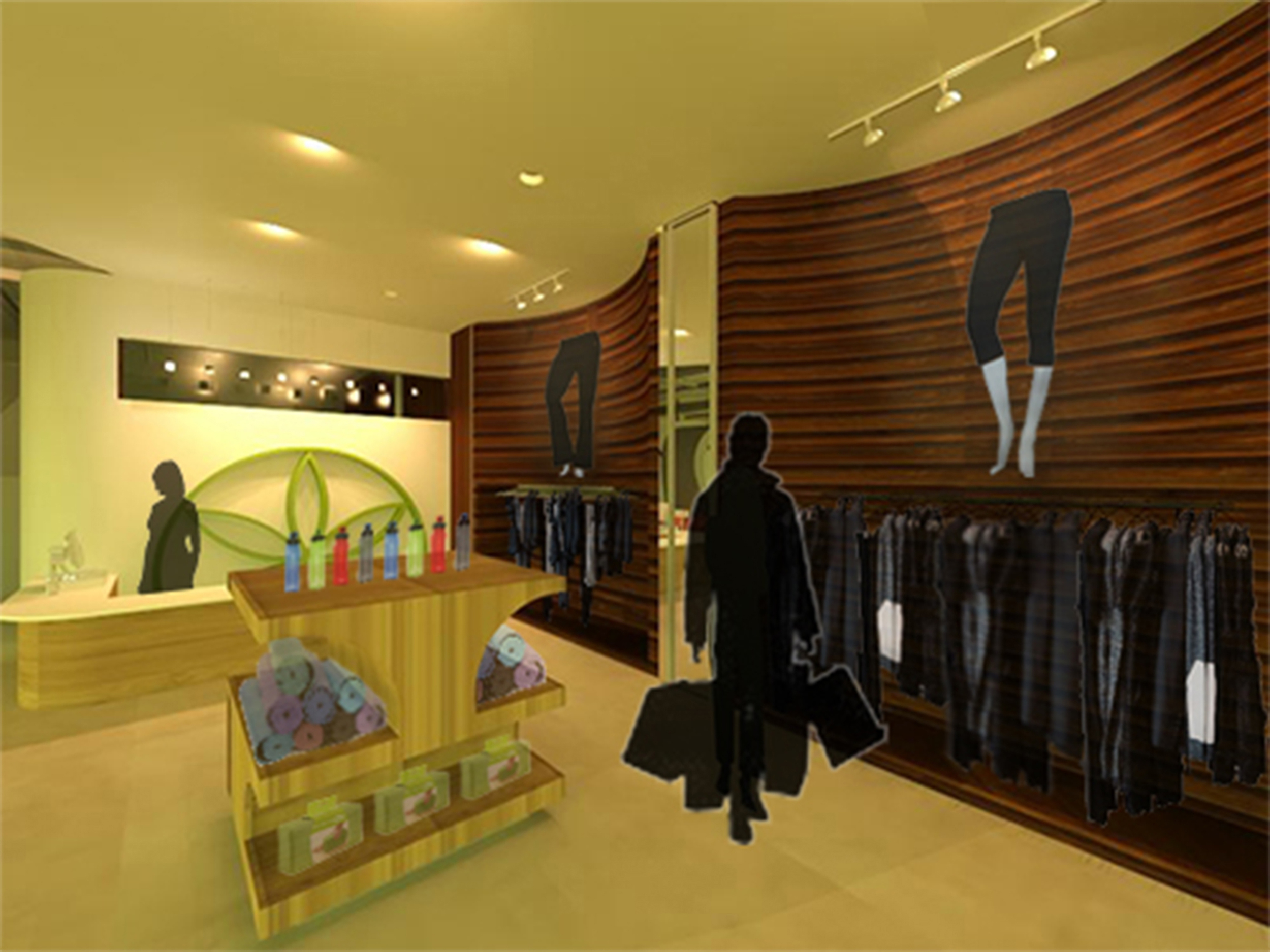 The retail space of the Gaiam Center. Constructed in Revit and rendered in 3D Studio Max.©2011 Caroline Ingalls.