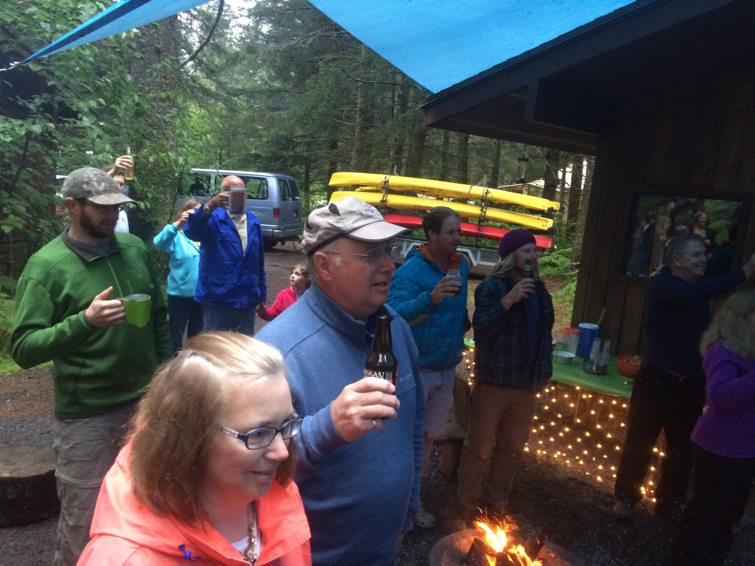 Lifting a glass at the annual Sunny Cove Polka Party