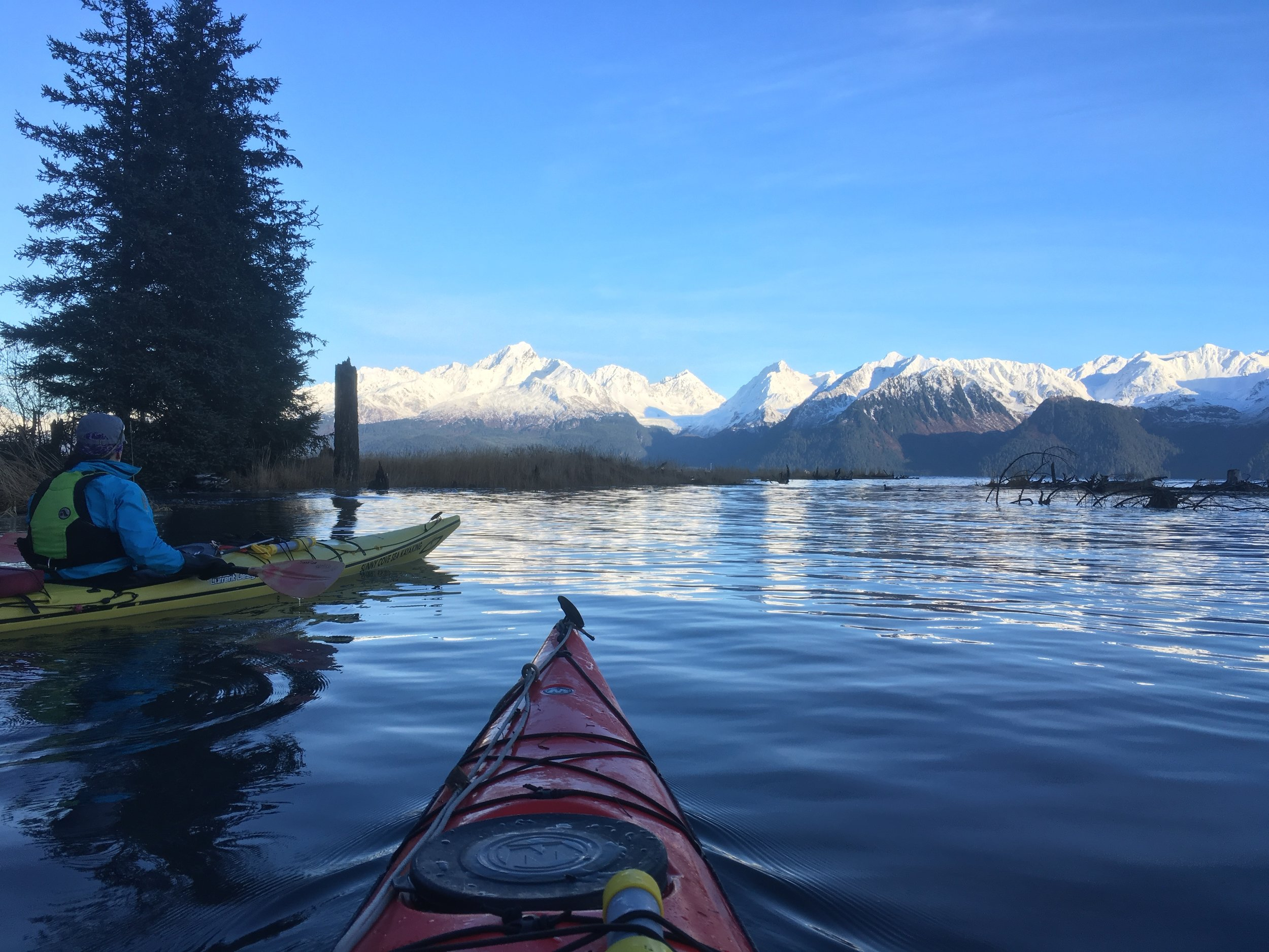 Kayaking over an area usually accessible by foot.