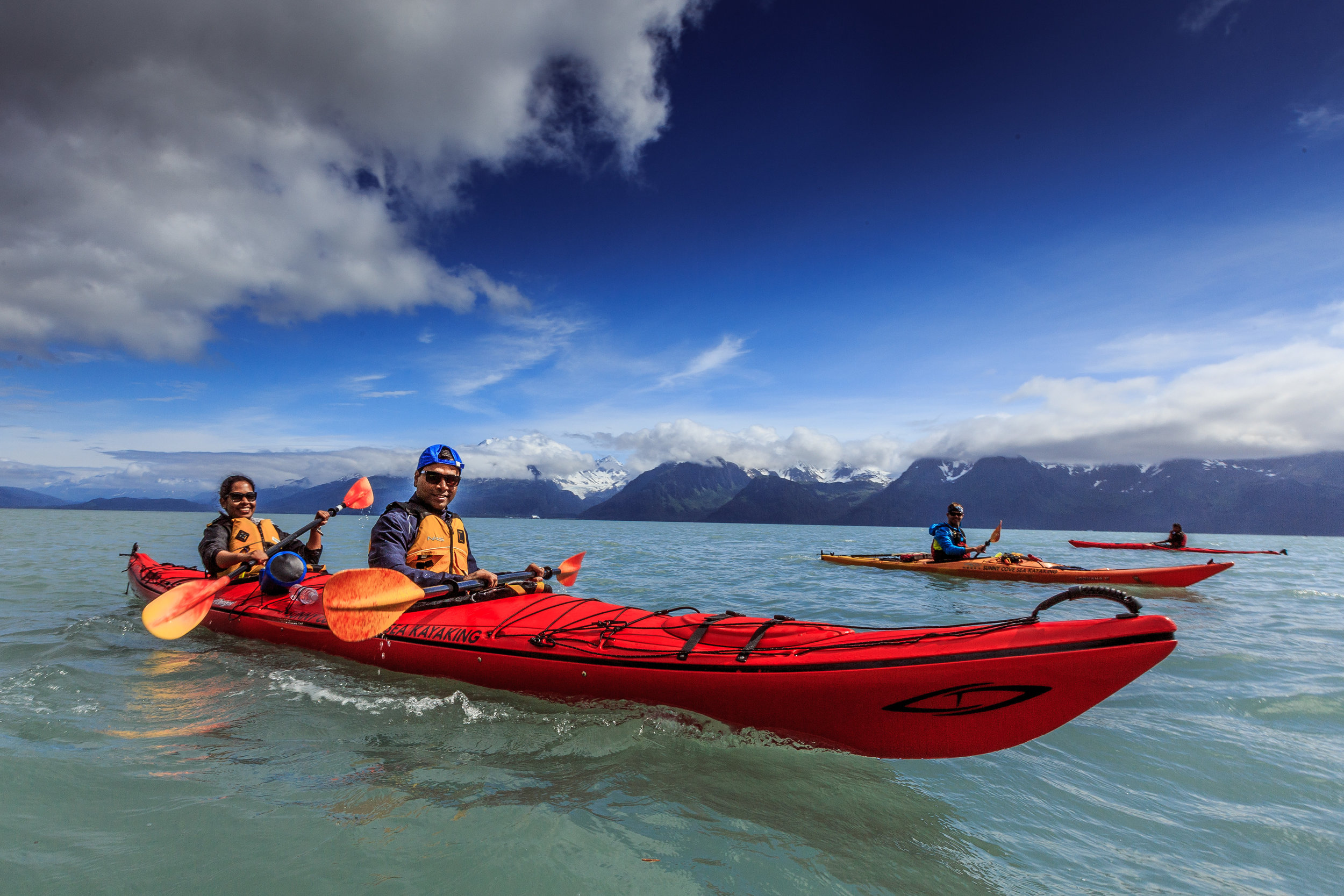 Our stable two-person kayaks are specifically designed for stability on the ocean. At more than 18 feet long, they feel very comfortable and are easy to steer with a foot controlled rudder system, even in a bit of wind waves.