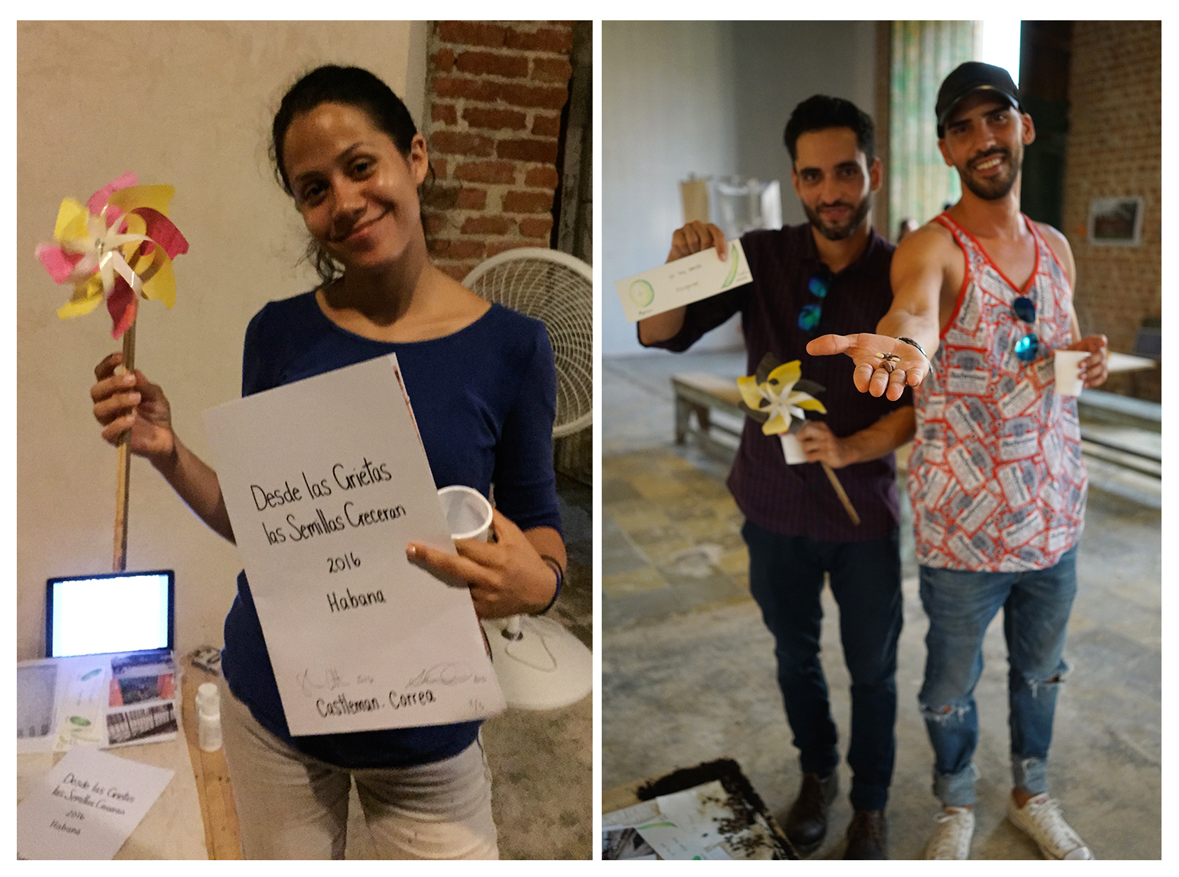 "Garden Adopters at ""En Regla"" Exhibition Opening, Niurka, Eduardo and Diego"