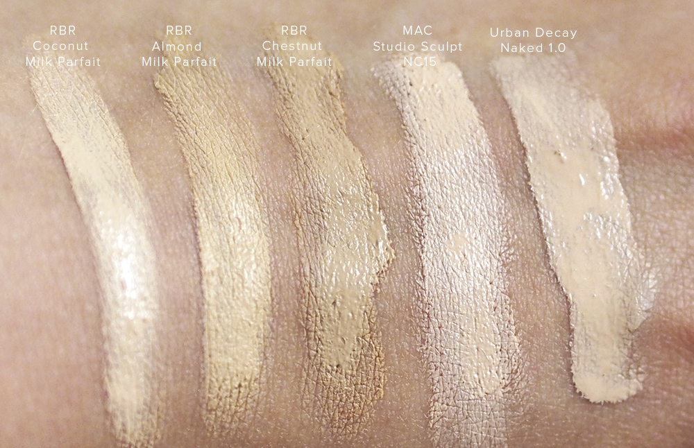 Rouge Bunny Rouge Milk Aquarelle foundation swatches