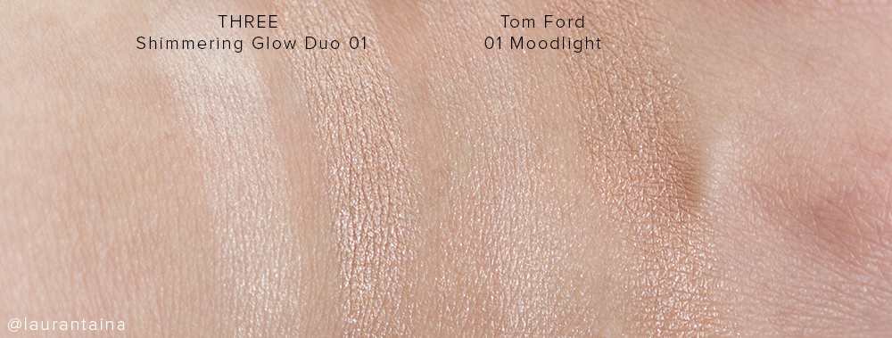 THREE Shimmering Glow duo and Tom Ford Moodlight swatches