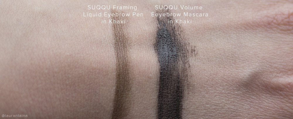 SUQQU Eyebrow Pen and SUQQU Eyebrow Mascara swatches (Khaki)
