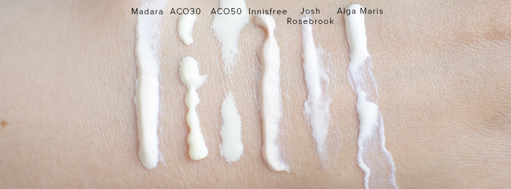 Sunscreen swatches