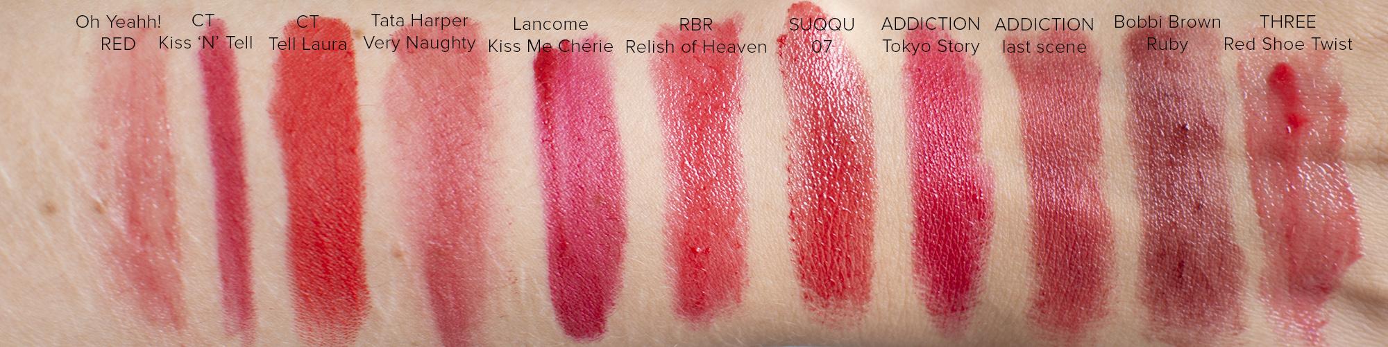 Favorite Red Lipstick Swatches | Laura Loukola Beauty Blog