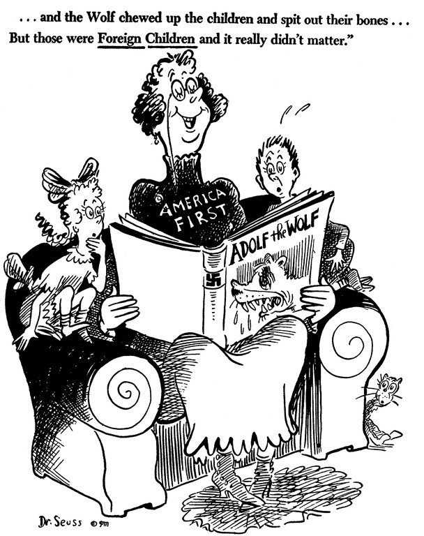 This cartoon from 1941 is one among hundreds of drawings Dr Seuss shared to rally citizens of the United States to step outside of their comfortable bubble and act against Nazism and fascism.