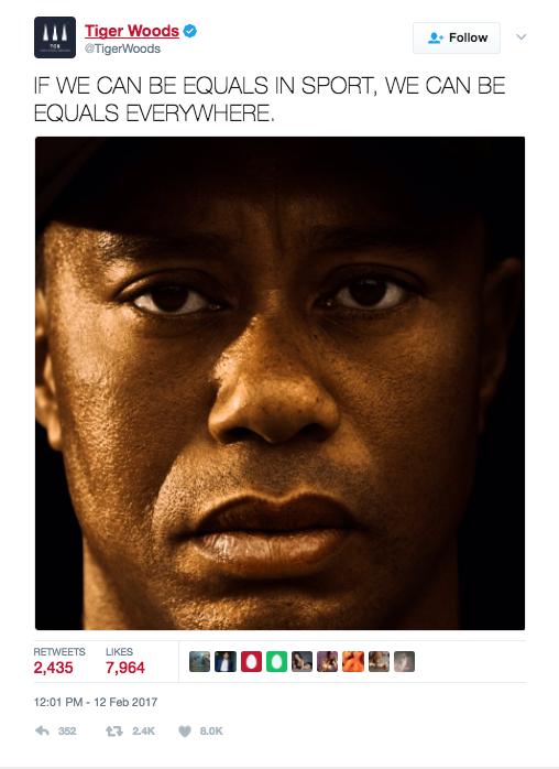 Tiger Woods' Tweet.
