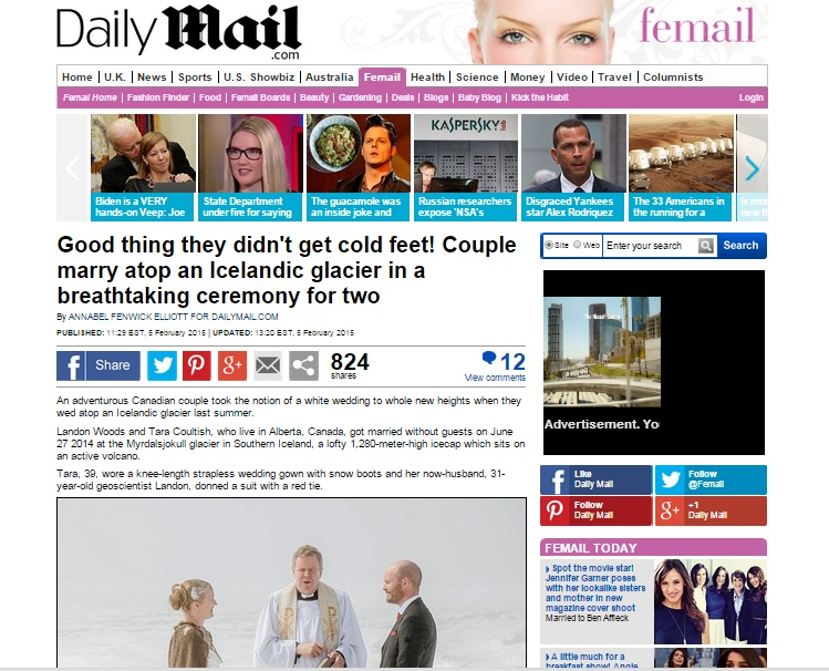 Iceland Wedding Photographer Featured in the Daily Mail