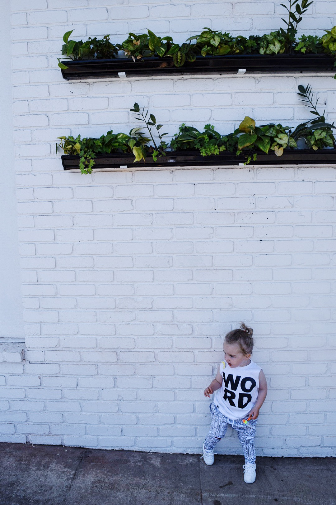 Baby / toddler monochrome joggers and word cutoff tee