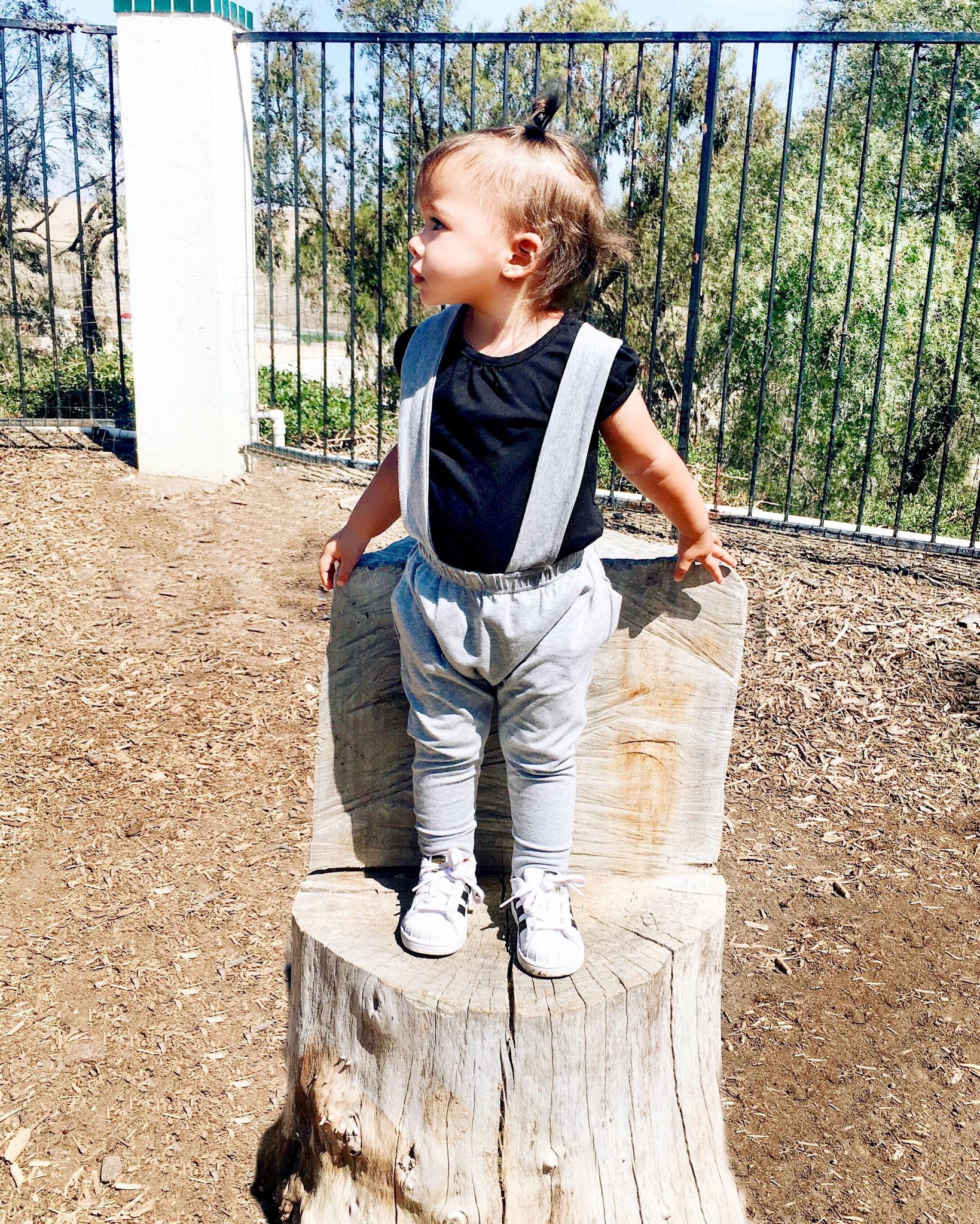 Lot801 light grey suspender joggers for toddler girl style