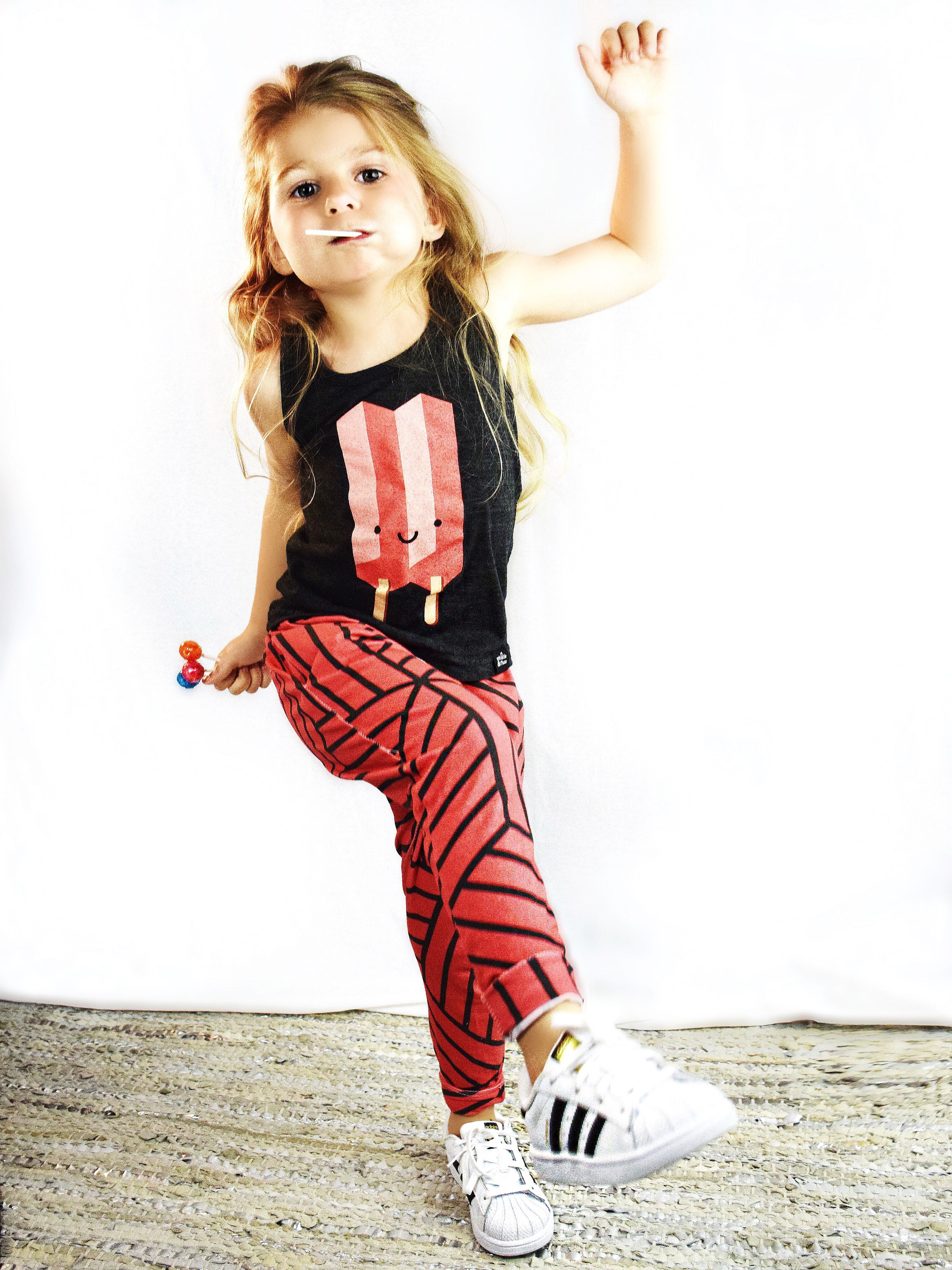 Lot801 blood orange joggers for babies and toddlers with Whistle and Flute popsicle tank.