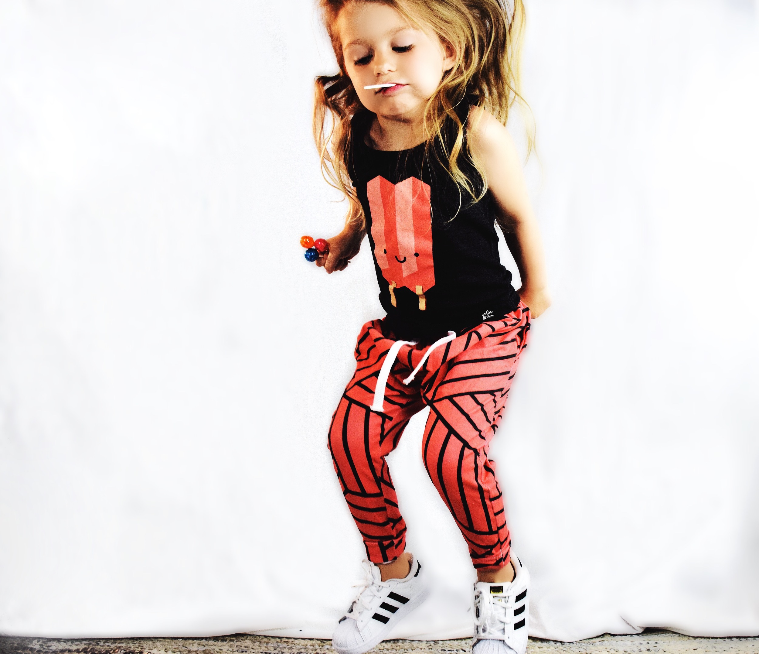 Lot801 blood orange joggers with adidas. toddler style