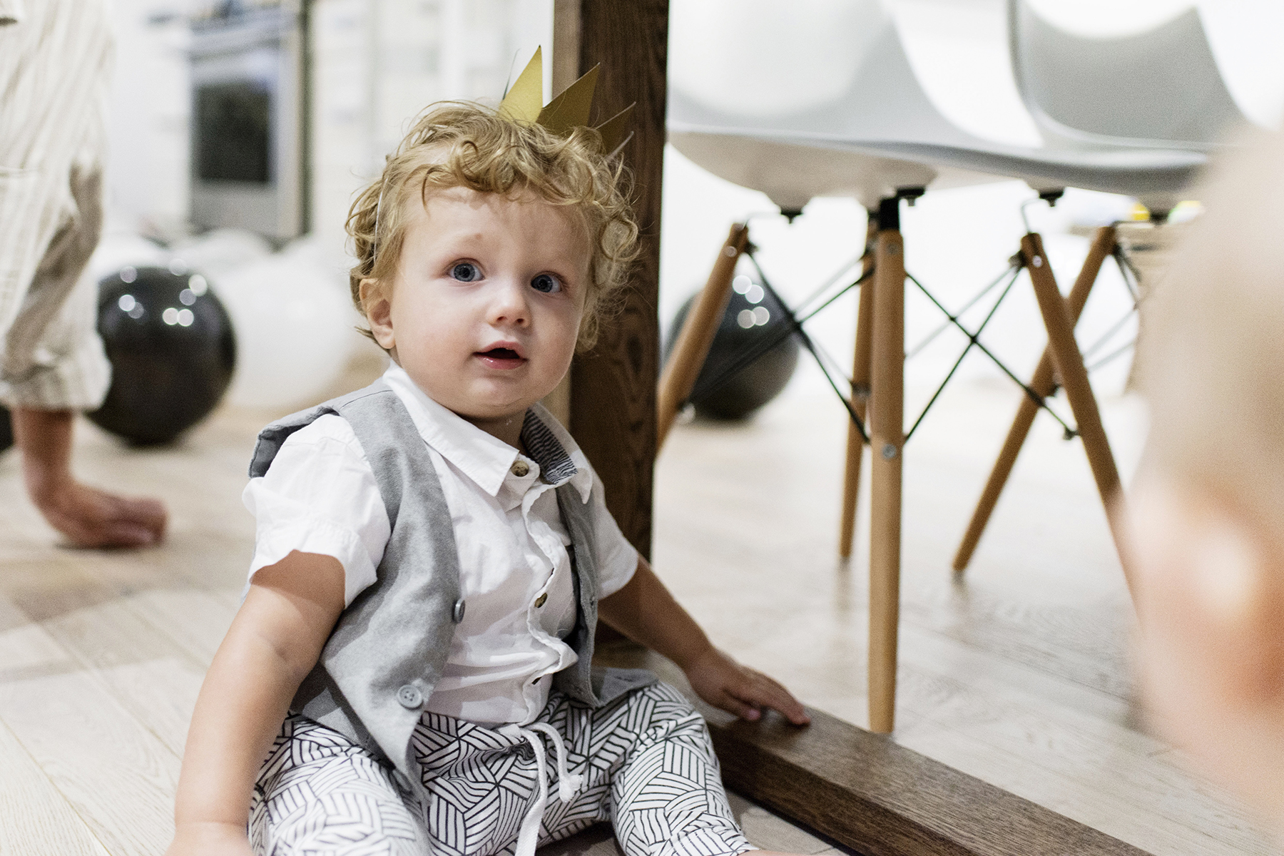 baby boy first birthday party. Lot801 monochrome joggers