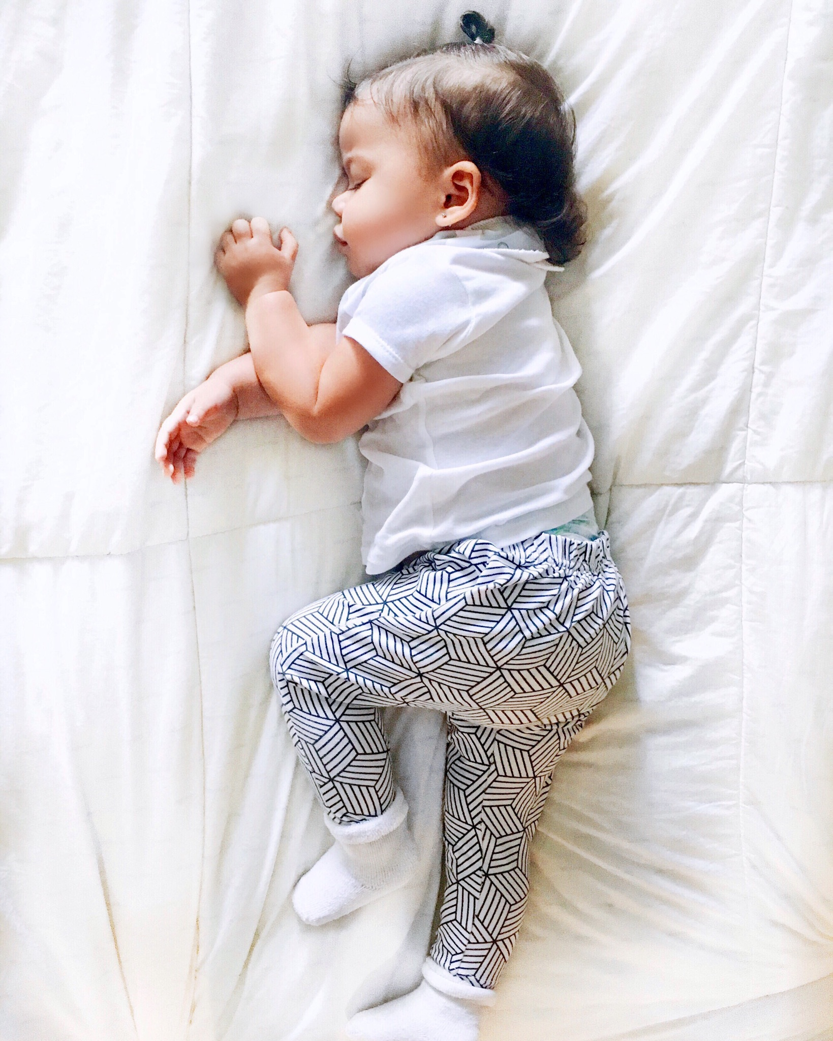 Lot801 baby girl and toddler monochrome joggers - drop crotch leggings